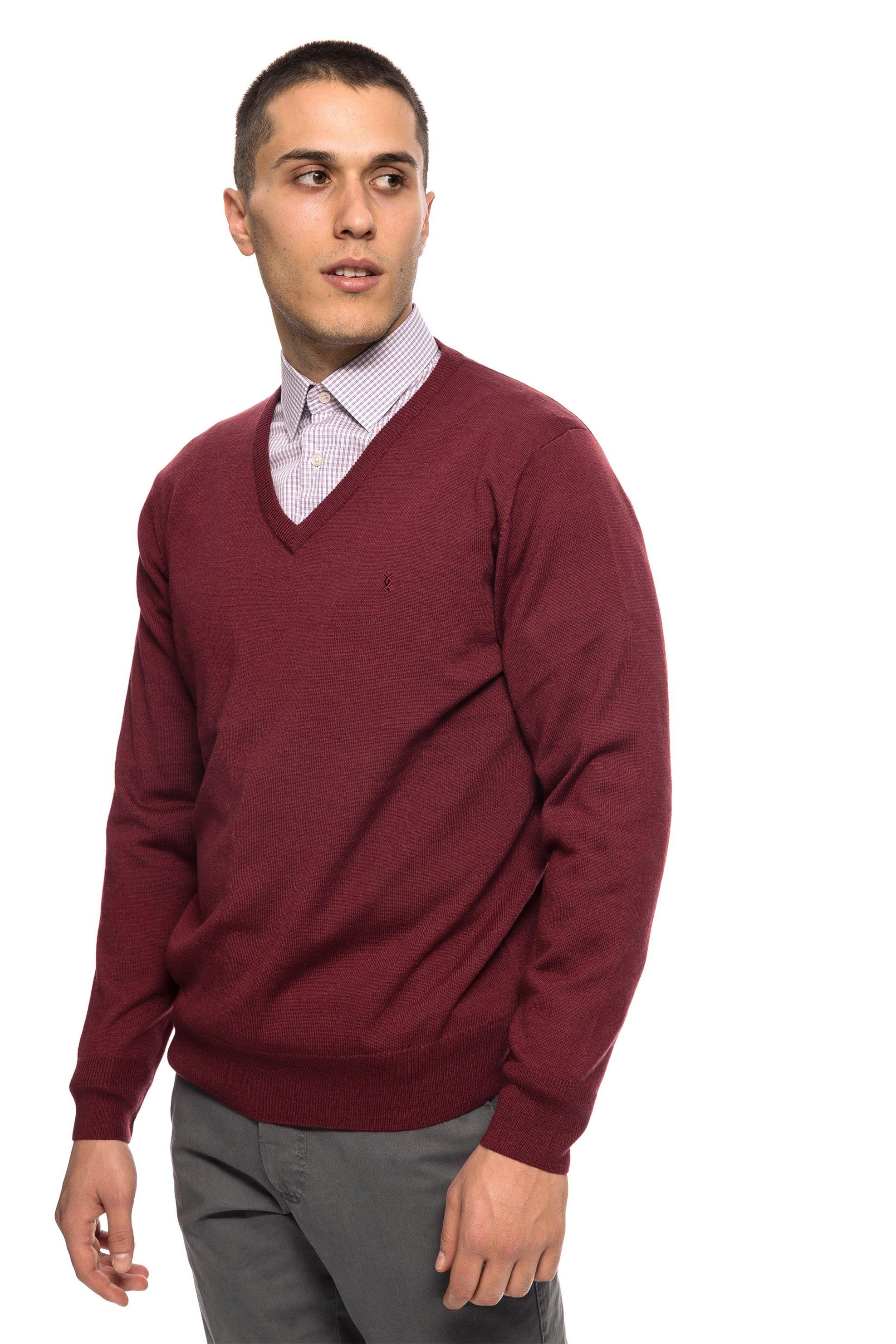 The Bostonians ανδρική πλεκτή μπλούζα με V λαιμόκοψη - MV1001 - Βυσσινί