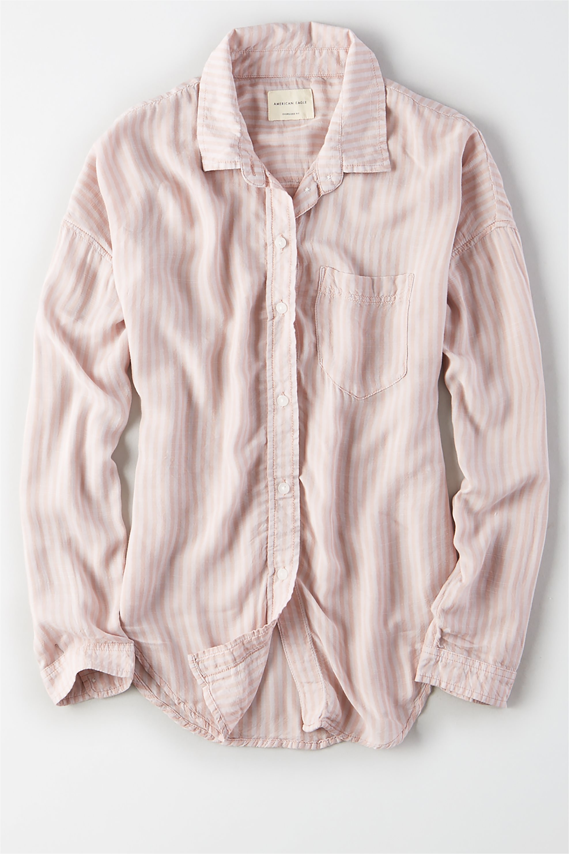 AE Oversized Striped Button Up Shirt - 1354-9205-107 - Nude