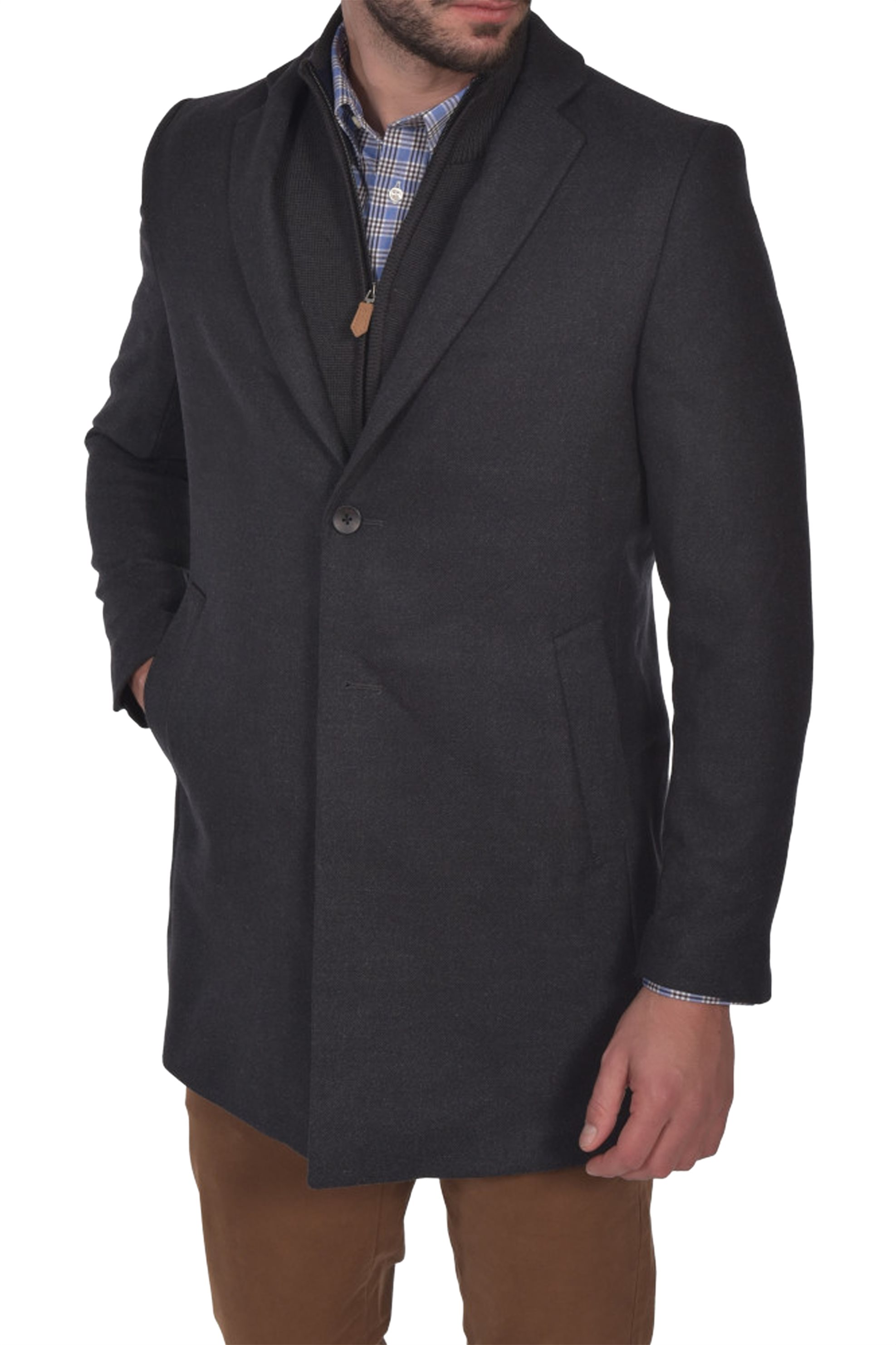Dur ανδρικό μάλλινο παλτό μονόχρωμο Diagonal - 52200042 - Ανθρακί