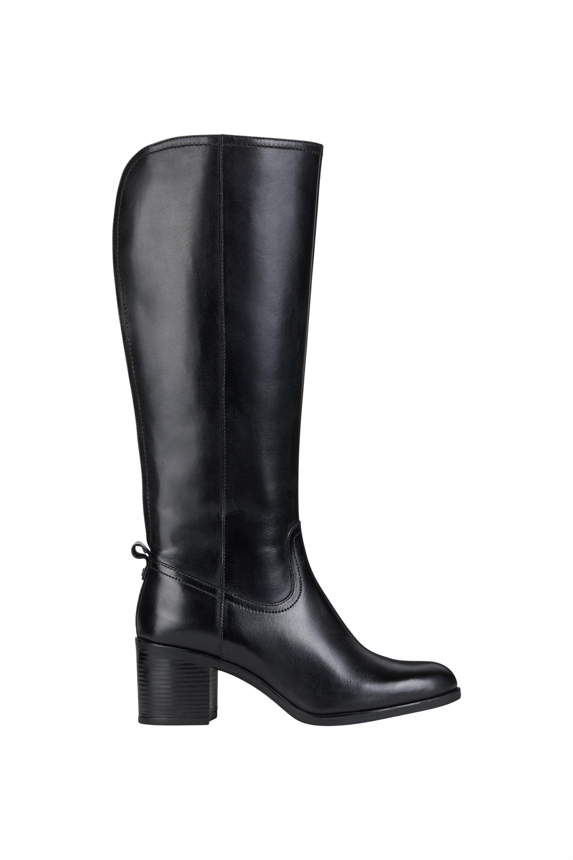 """Geox γυναικείες δερμάτινες μπότες 'Asheel"""" – D04FSD – Μαύρο"""