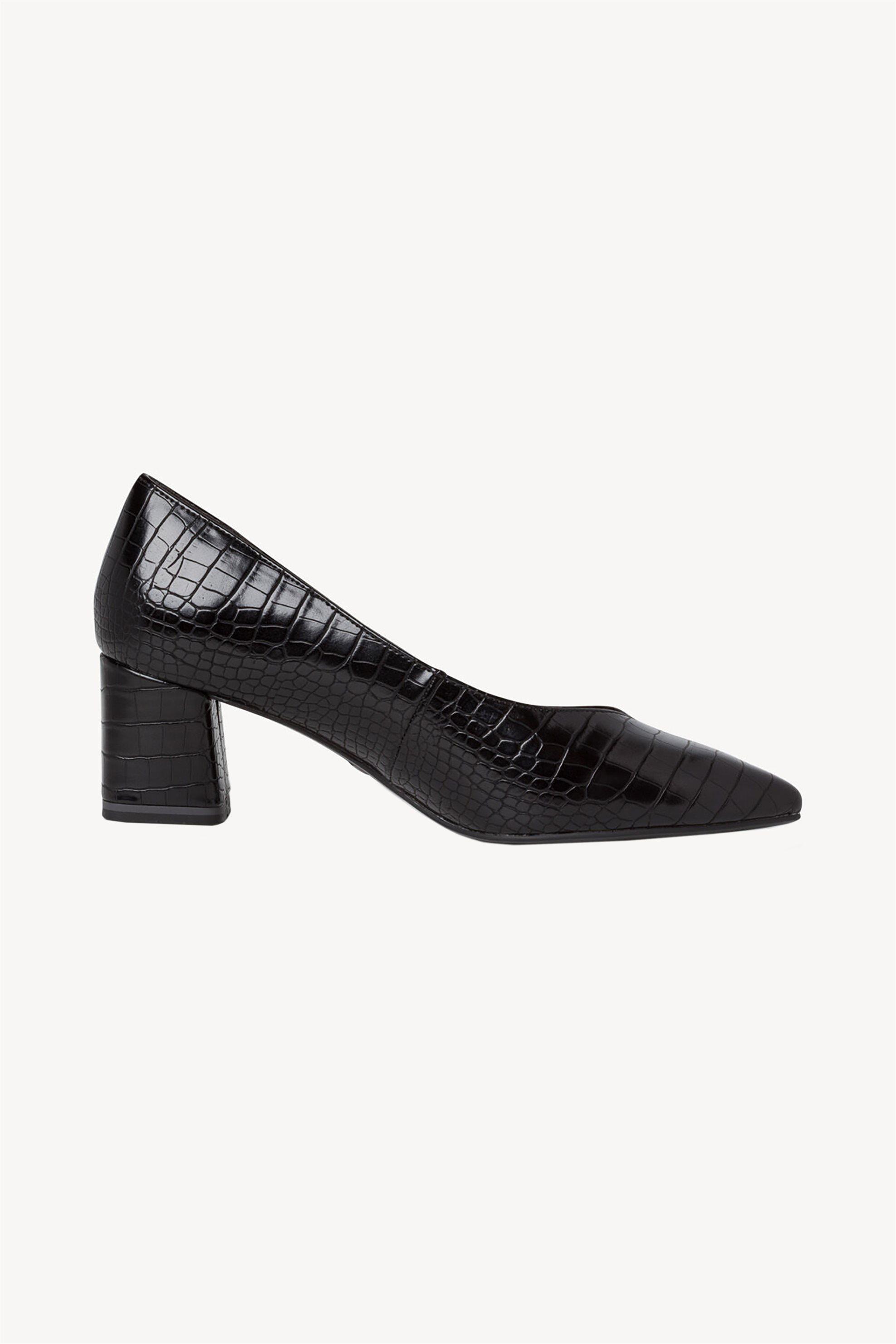 Tamaris γυναικείες croco γόβες με χοντρό τακούνι – 1-1-22420-25 – Μαύρο
