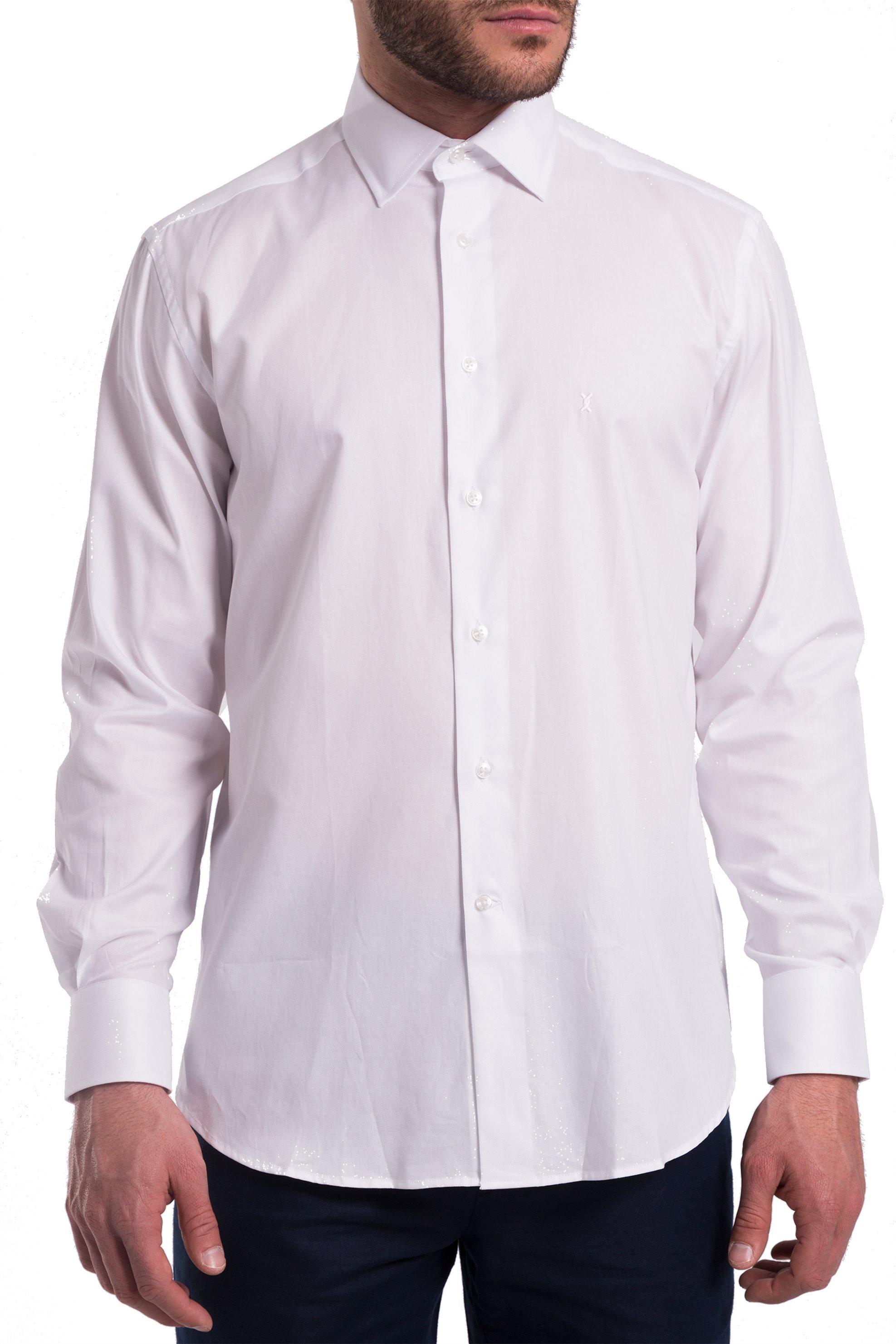 The Bostonians ανδρικό πουκάμισο μονόχρωμο με μακρύ μανίκι (sizes 39-46) - A8P0161 - Άσπρο