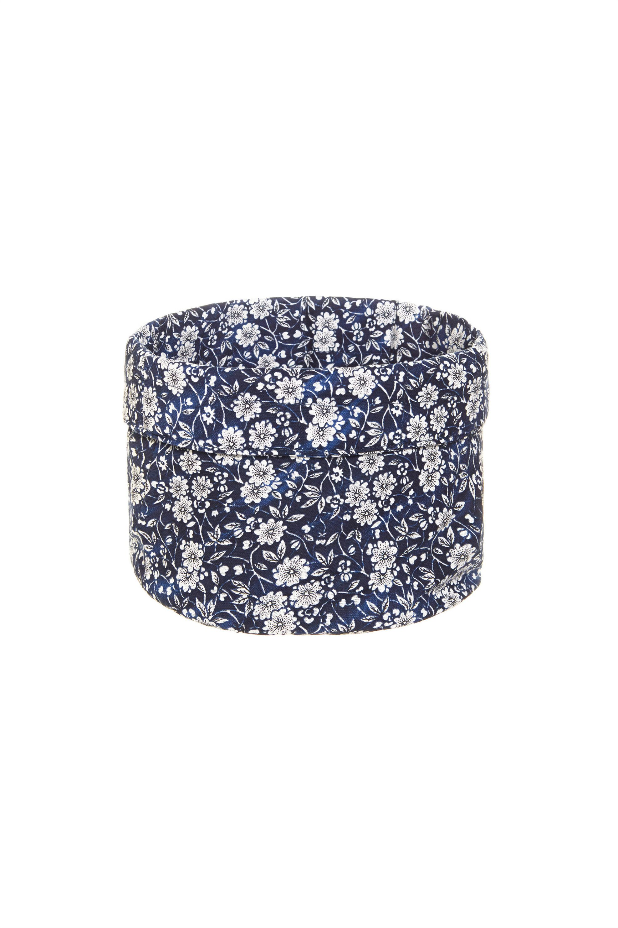 Καλάθι στρογγυλό με floral σχέδιο 20 x 20 cm Coincasa - 000494811 - Μπλε home   κουζινα   αξεσουάρ kουζίνας