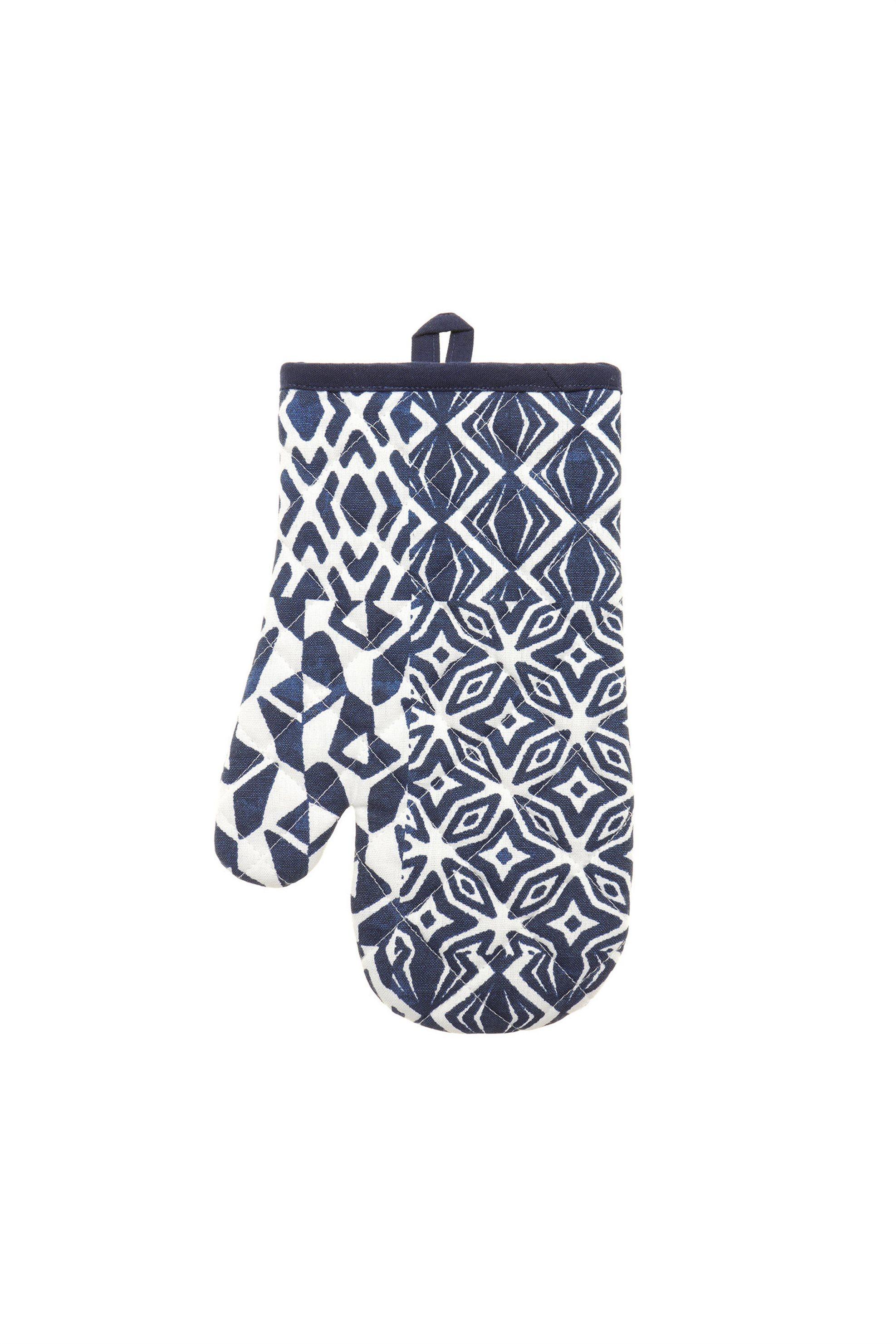 Γάντι φούρνου με γεωμετρικό σχέδιο 17 χ 20 cm Coincasa - 000496159 - Μπλε home   κουζινα   αξεσουάρ kουζίνας   γάντια   πιάστρες κουζίνας