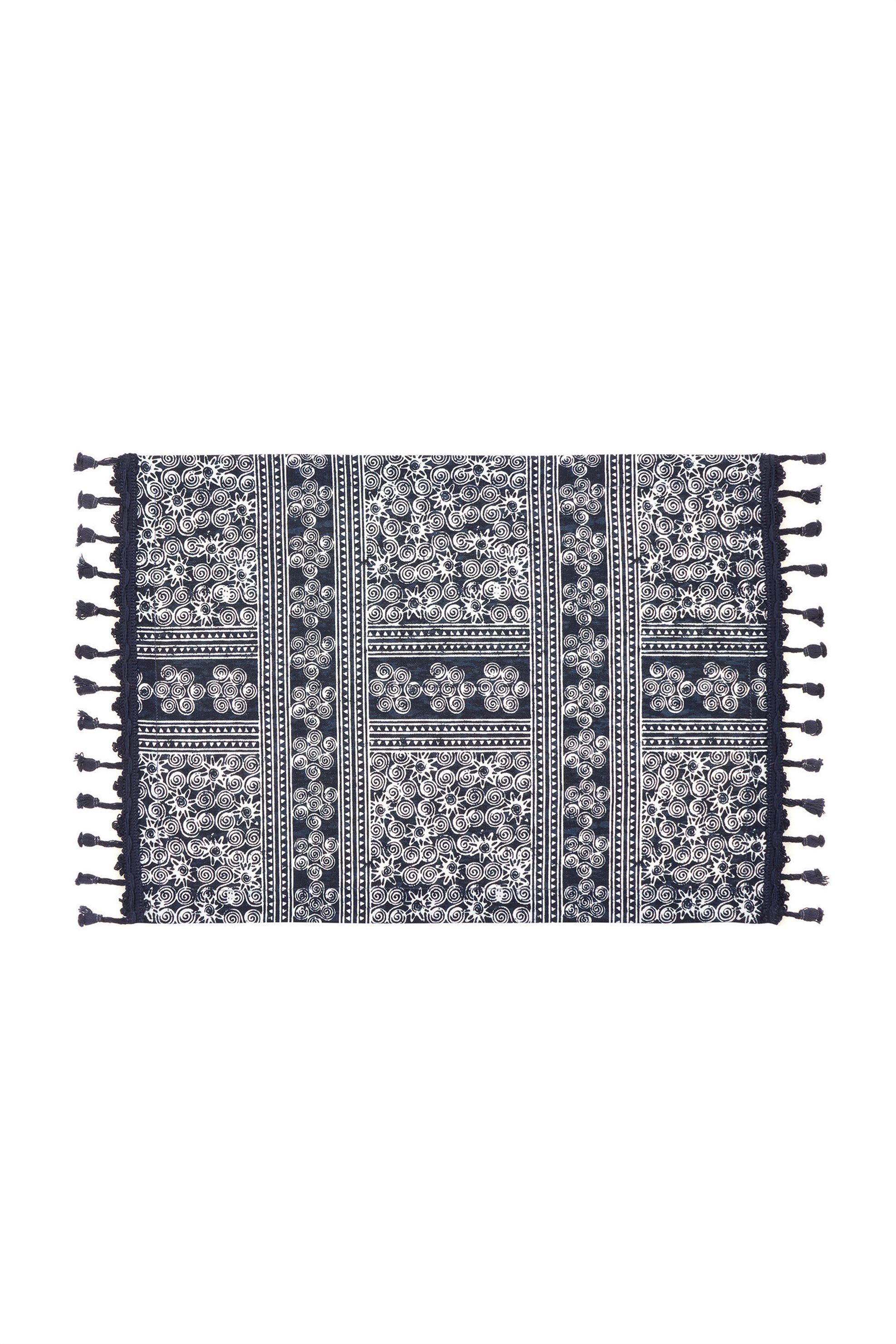 Σουπλά με γεωμετρικό σχέδιο και κρόσσια 35 x 50 cm Coincasa - 000496161 - Μπλε home