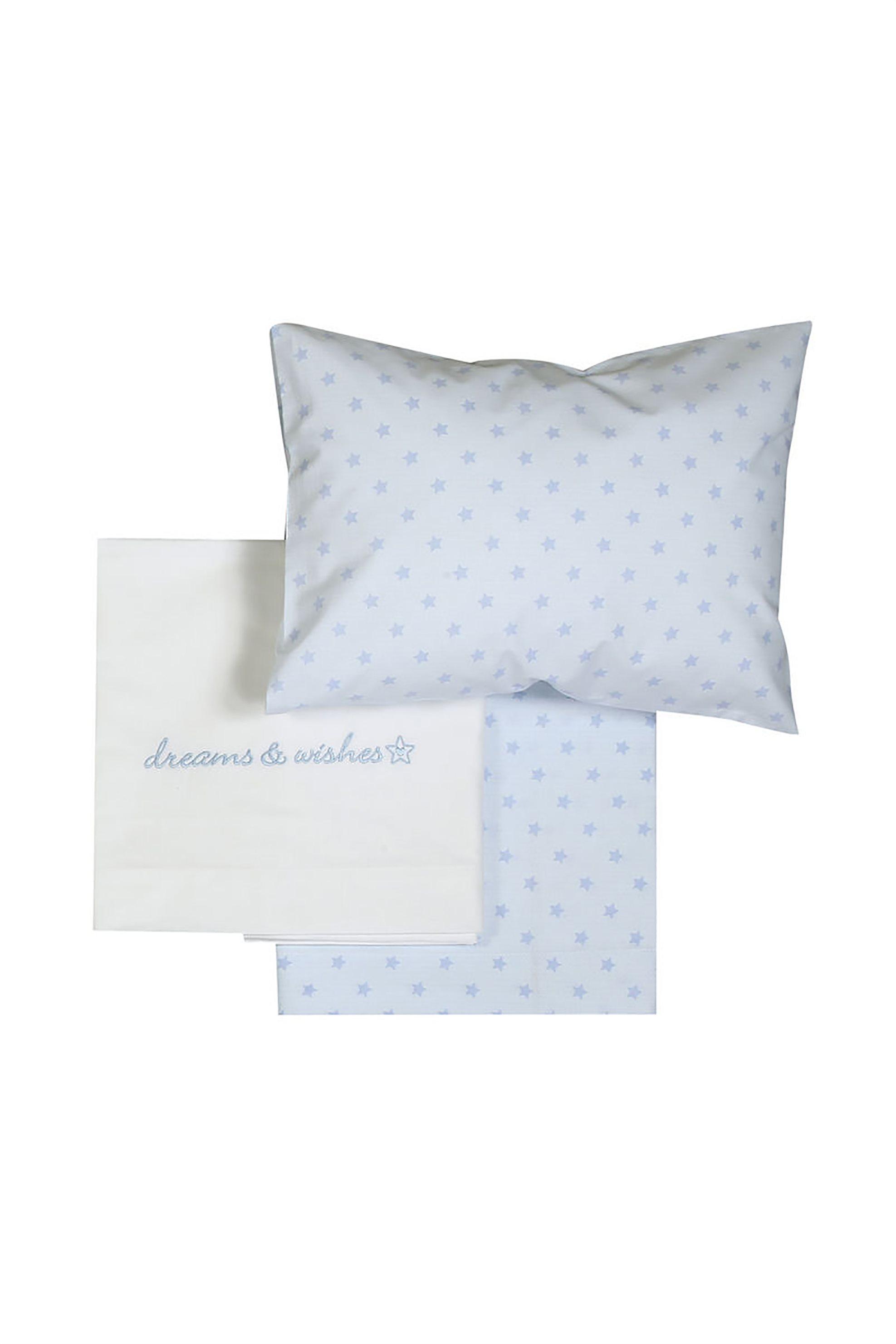 NEF-NEF Σετ σεντόνια κούνιας Dream & Wishes (3 τεμάχια) - 021423 - Γαλάζιο home   παιδια   σεντόνια   σετ παιδικά σεντόνια