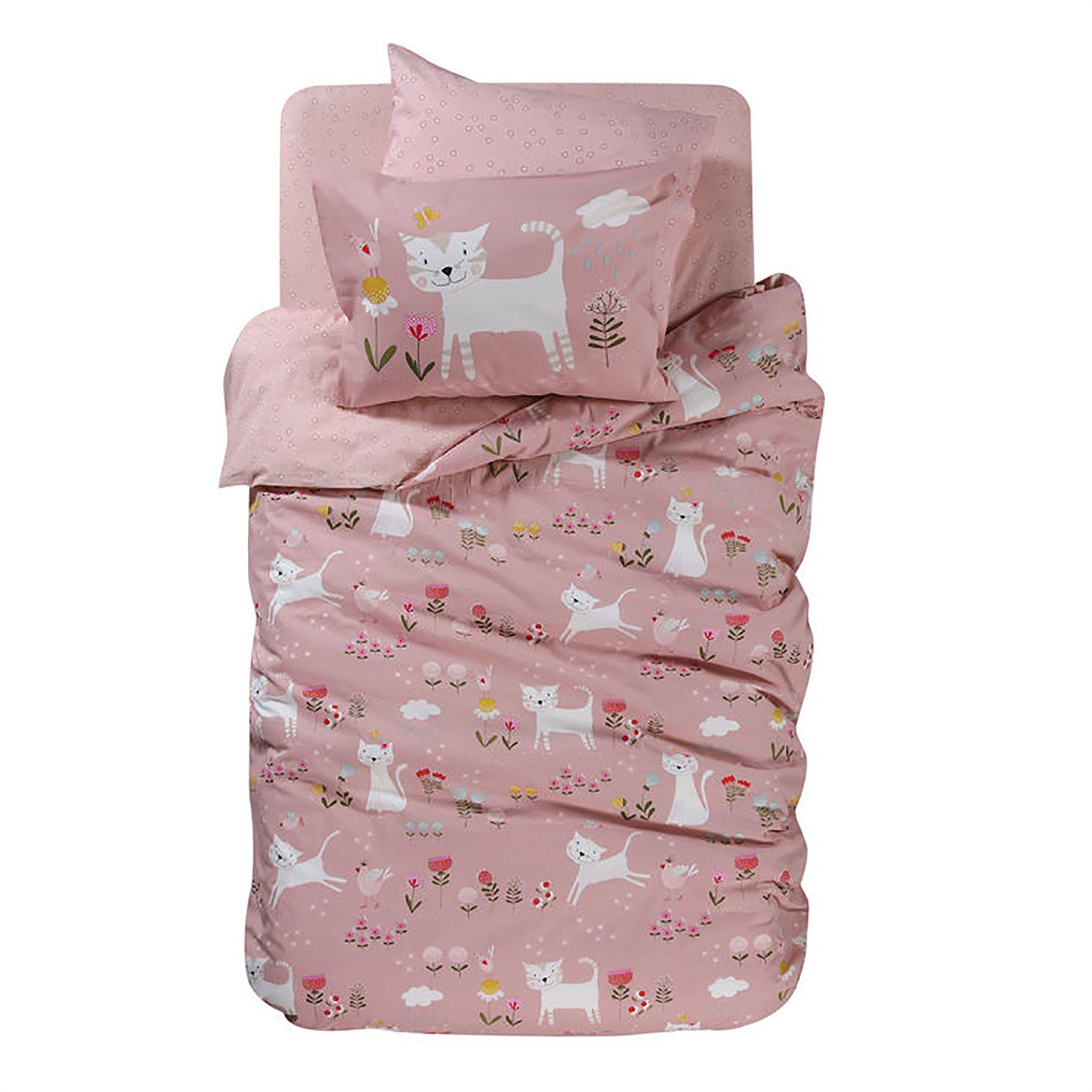 NEF-NEF Σετ παιδικά σεντόνια ροζ Smiling Kitty (3 τεμάχια) - 022271 - Ροζ home   παιδια   σεντόνια   σετ παιδικά σεντόνια