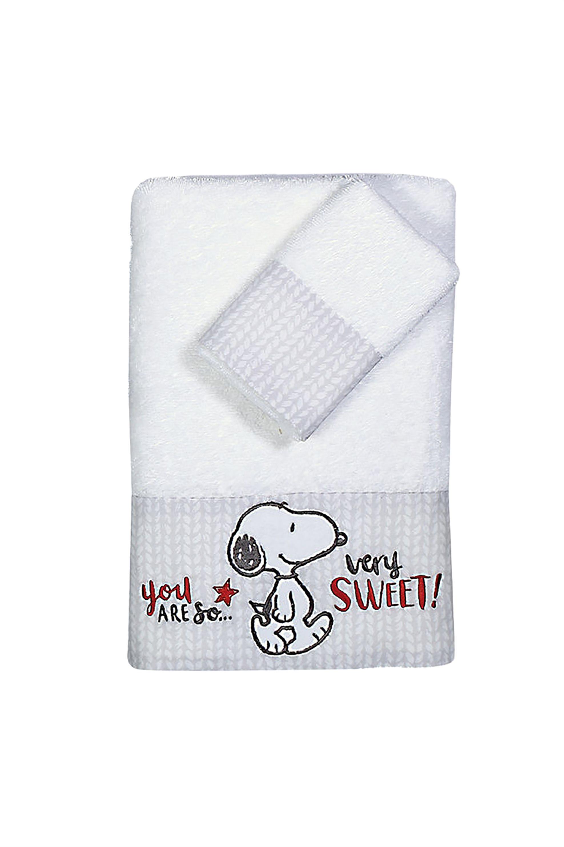 NEF-NEF Σετ βρεφικές πετσέτες Sweet Snoopy (2 τεμάχια) - 022867 - Λευκό home   παιδια   πετσέτες   σετ παιδικές πετσέτες