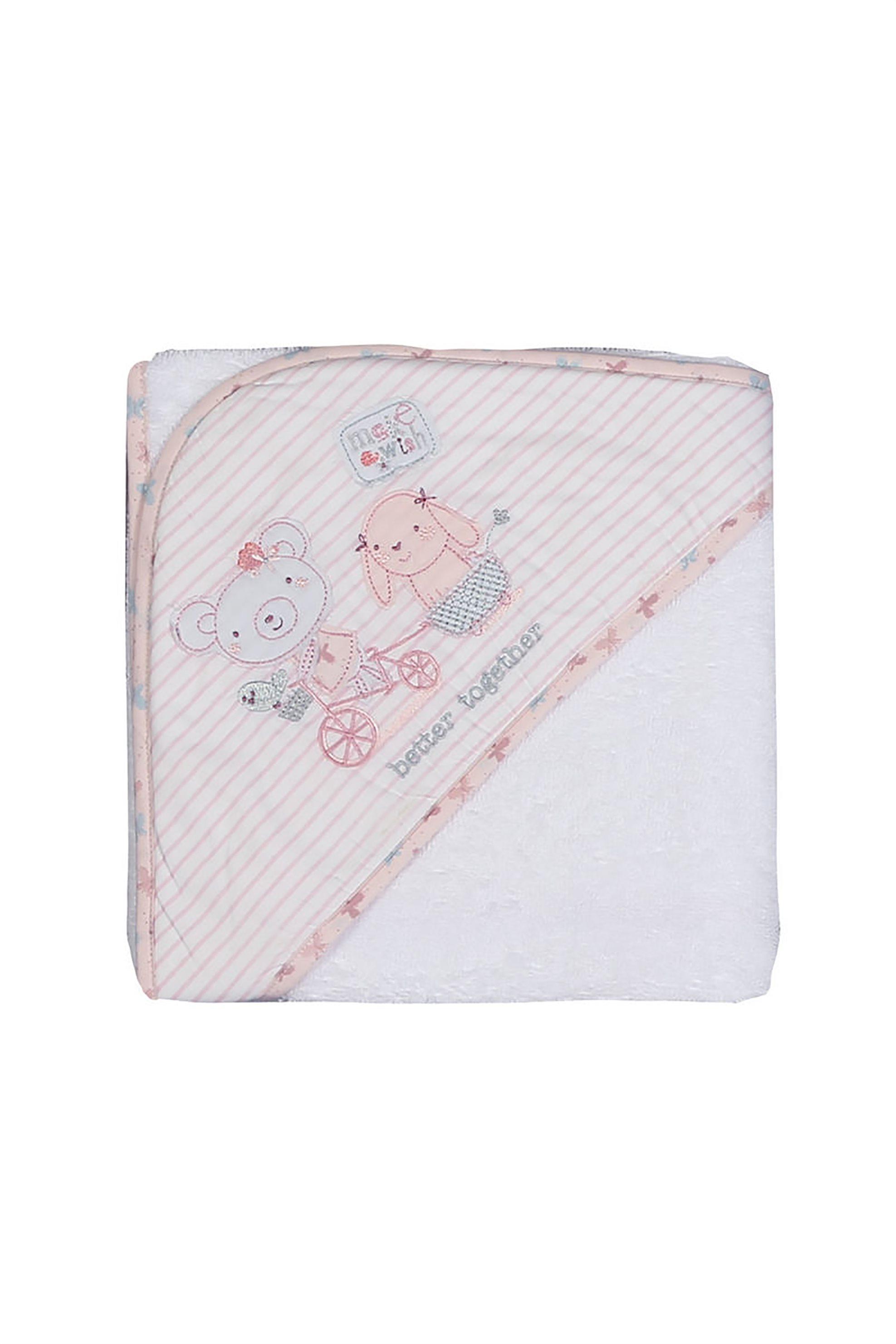 NEF-NEF Βρεφική κάπα Better Together(75x75)  - 021476 - Λευκό home   παιδια   παιδικά μπουρνούζια   ρόμπες   πετσέτες