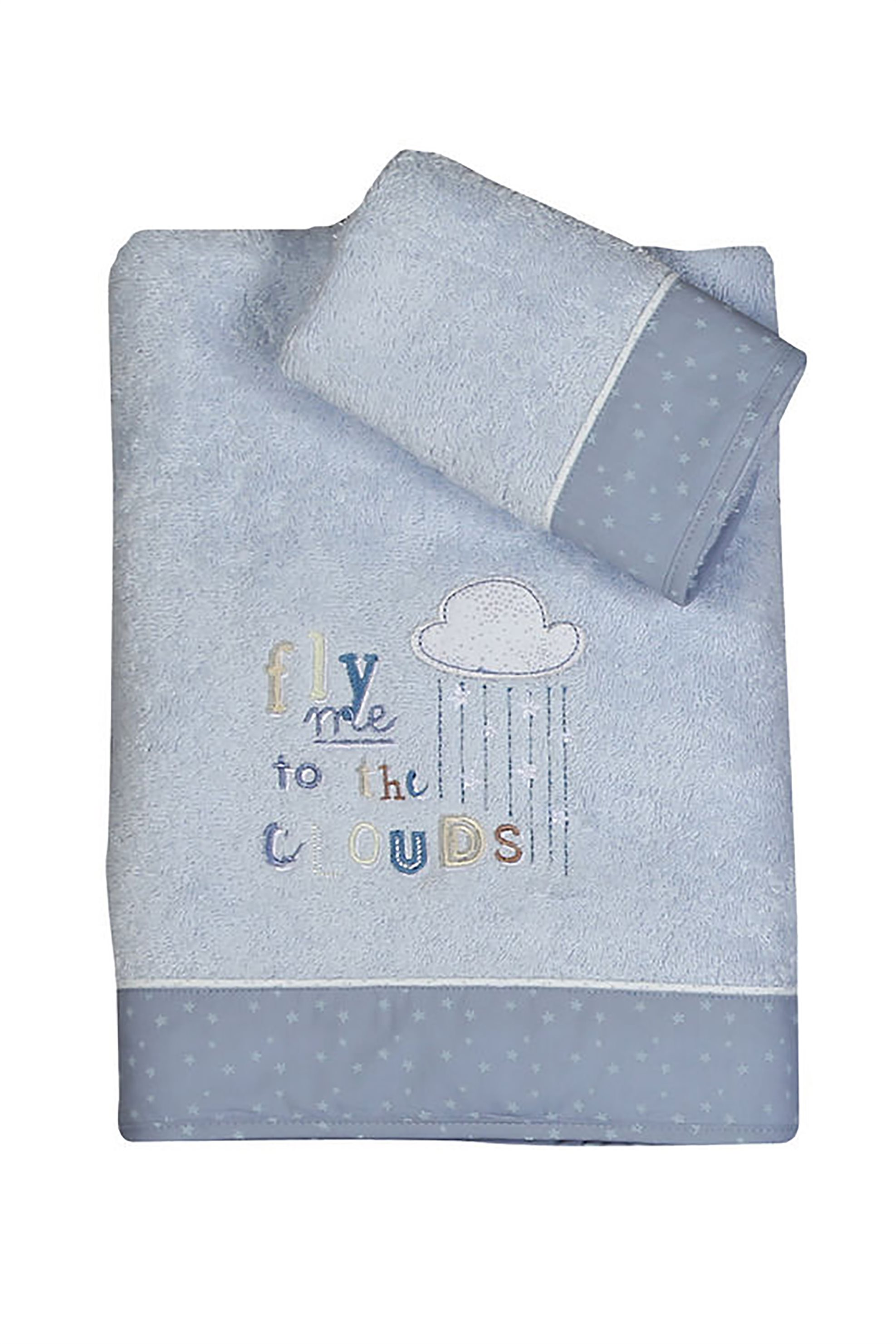 NEF-NEF Σετ βρεφικές πετσέτες Clouds (2 τεμάχια)  - 021493 - Γκρι Γαλάζιο home   παιδια   πετσέτες   σετ παιδικές πετσέτες
