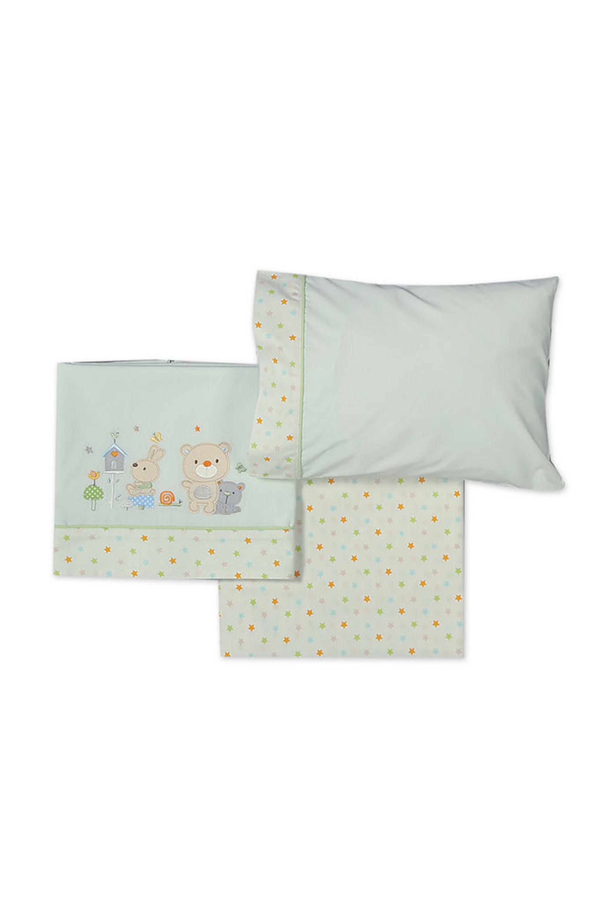 Σετ βρεφικά σεντόνια κούνιας Cute Buddies NEF-NEF - 019276 - Πράσινο home   παιδια   σεντόνια   σετ παιδικά σεντόνια