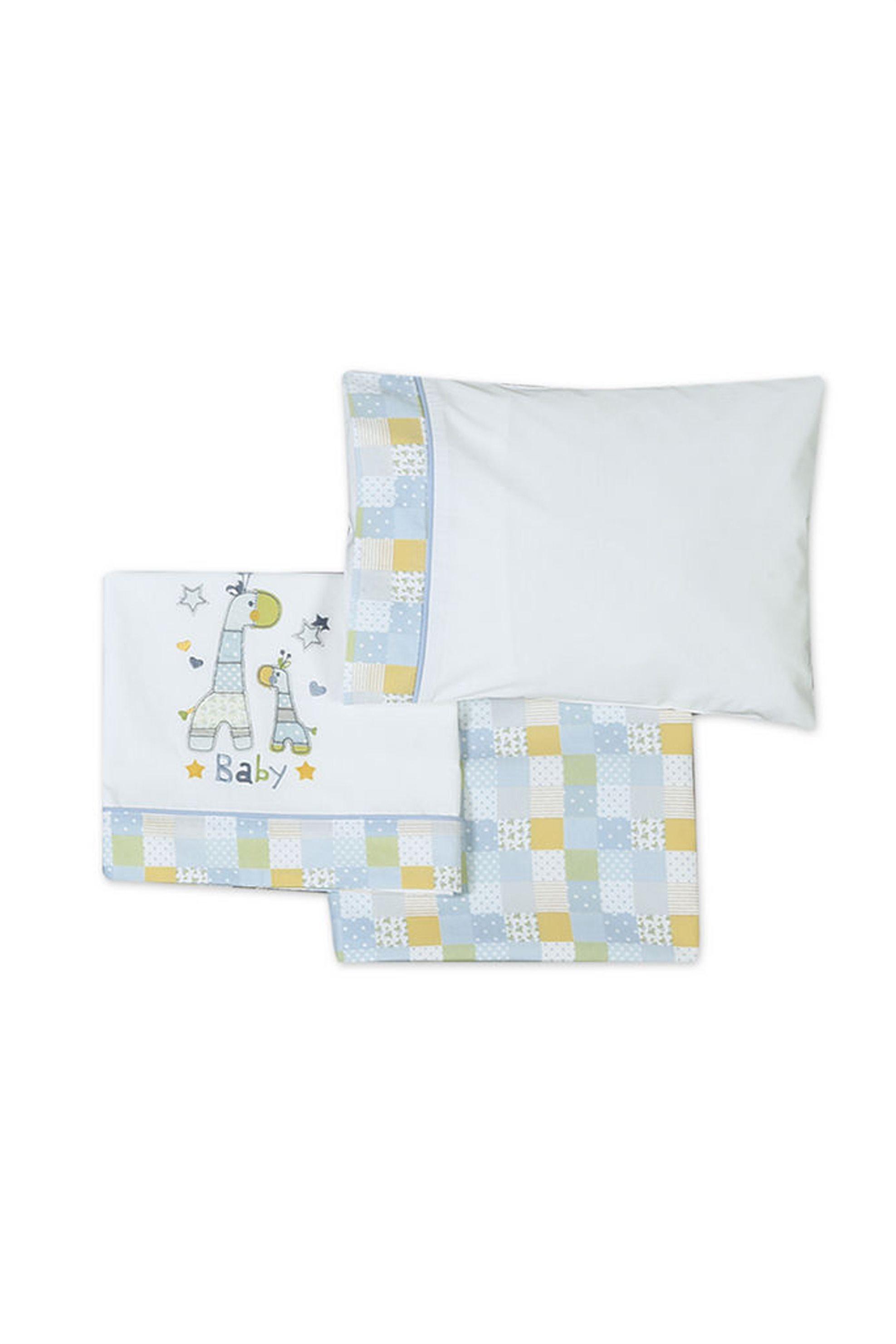 Σετ βρεφικά σεντόνια με print Baby Girafe NEF-NEF - 019267 - Λευκό home   παιδια   σεντόνια   σετ παιδικά σεντόνια