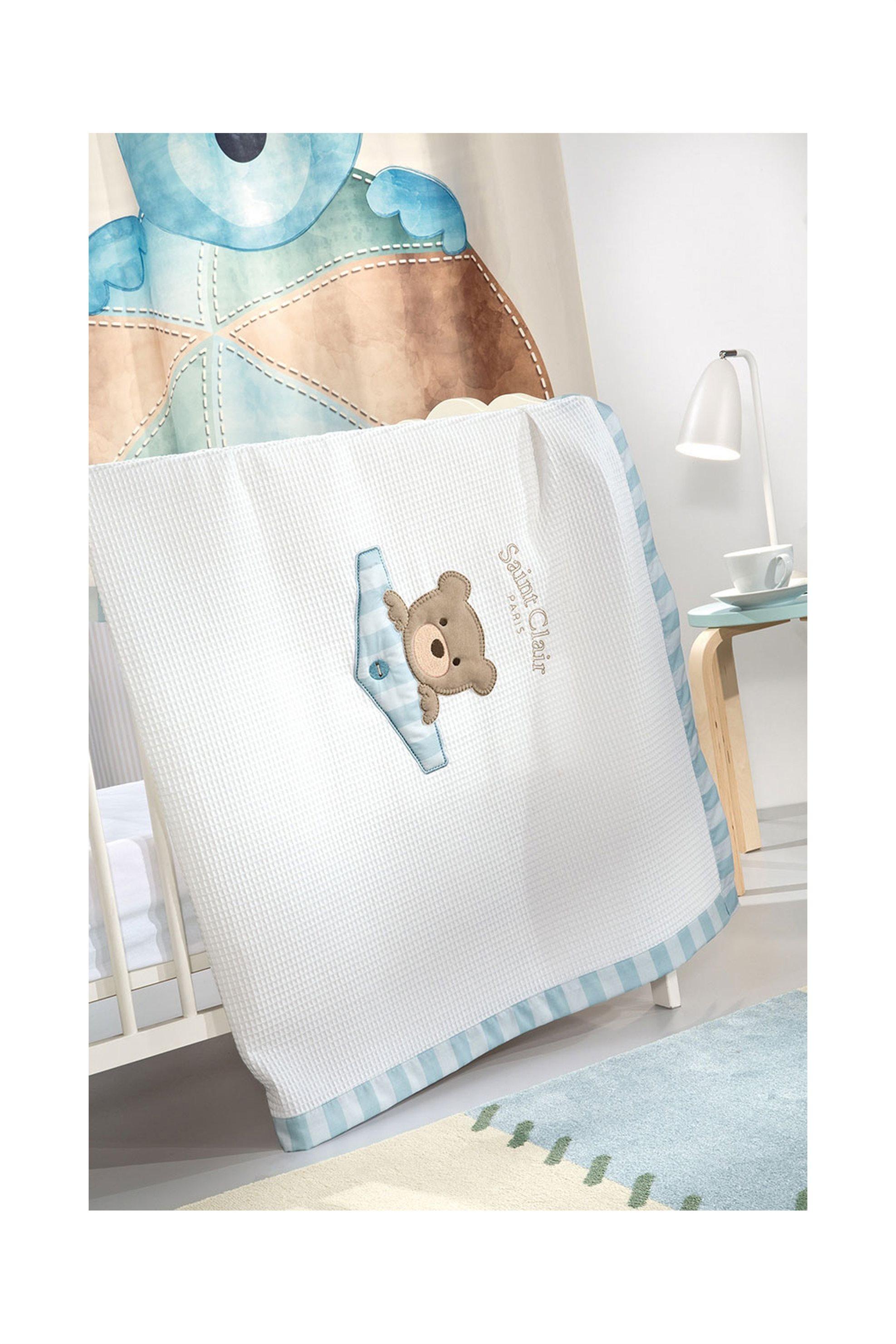 Saint Clair Paris βρεφική κουβέρτα πικέ Teddy Sky (110x150) - 1713090215009 home   παιδια   κουβέρτες