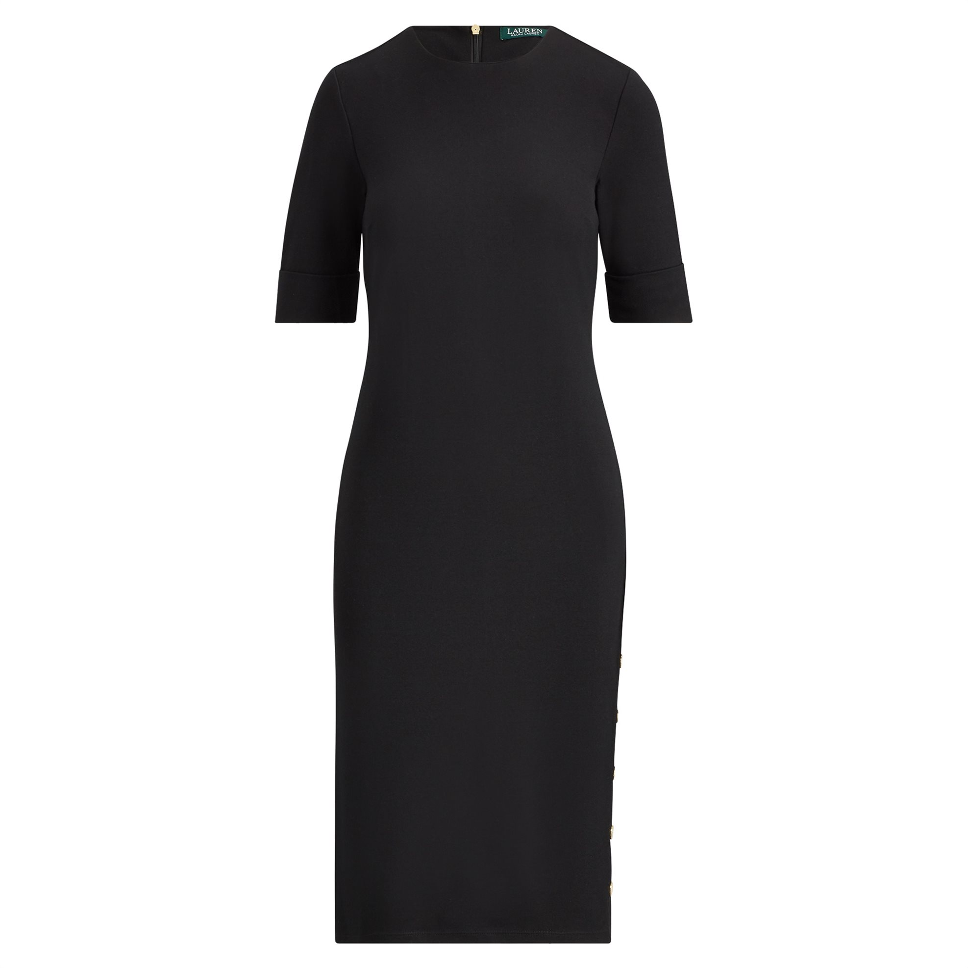 Lauren Ralph Lauren γυναικείο φόρεμα Button-Trim Ponte Dress Polo Black - 200709 γυναικα   ρουχα   φορέματα   midi φορέματα