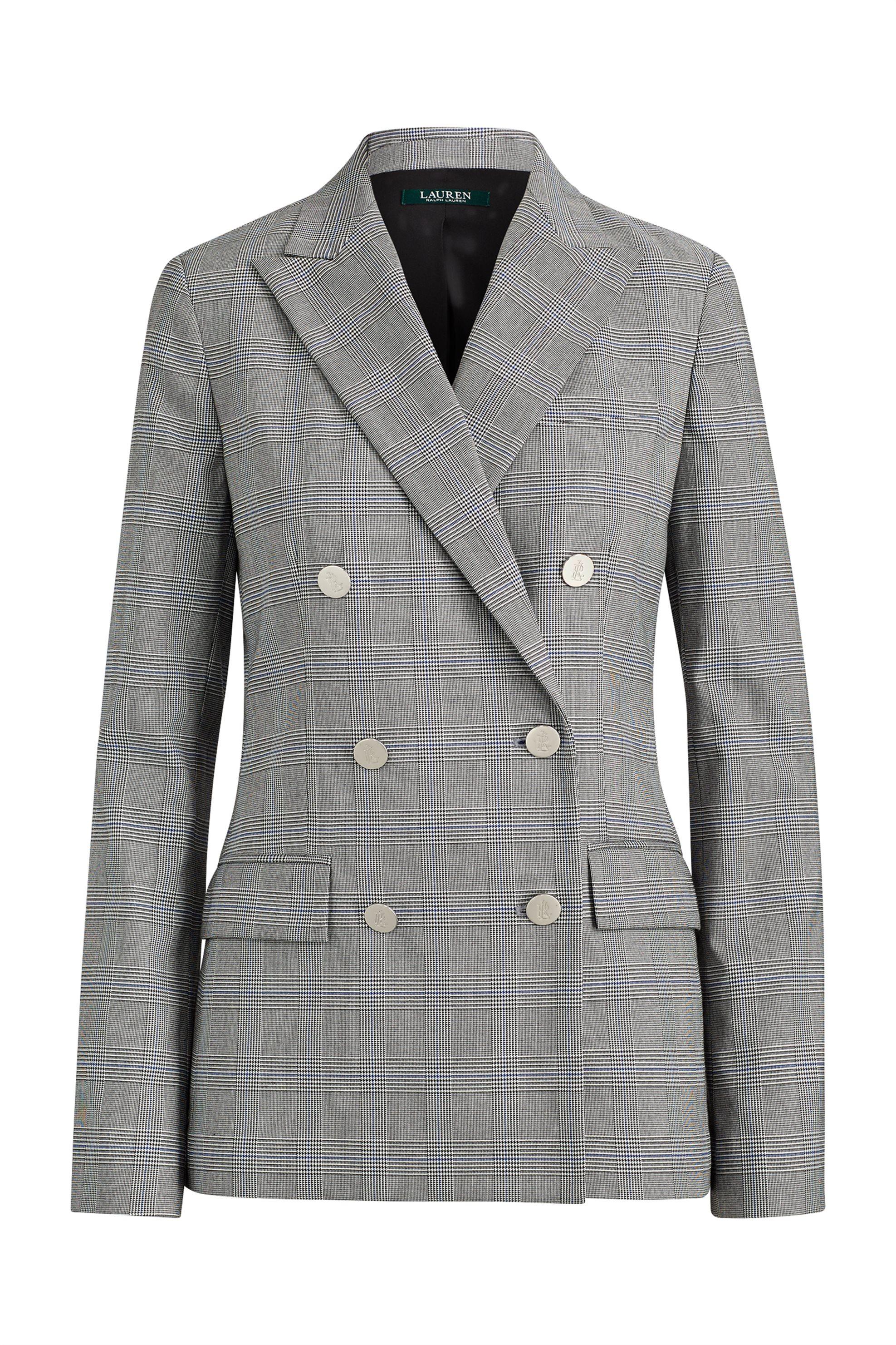 071163d9e74 Lauren Ralph Lauren γυναικείο καρό σακάκι Double-Breasted - 200726123001 -  Γκρι