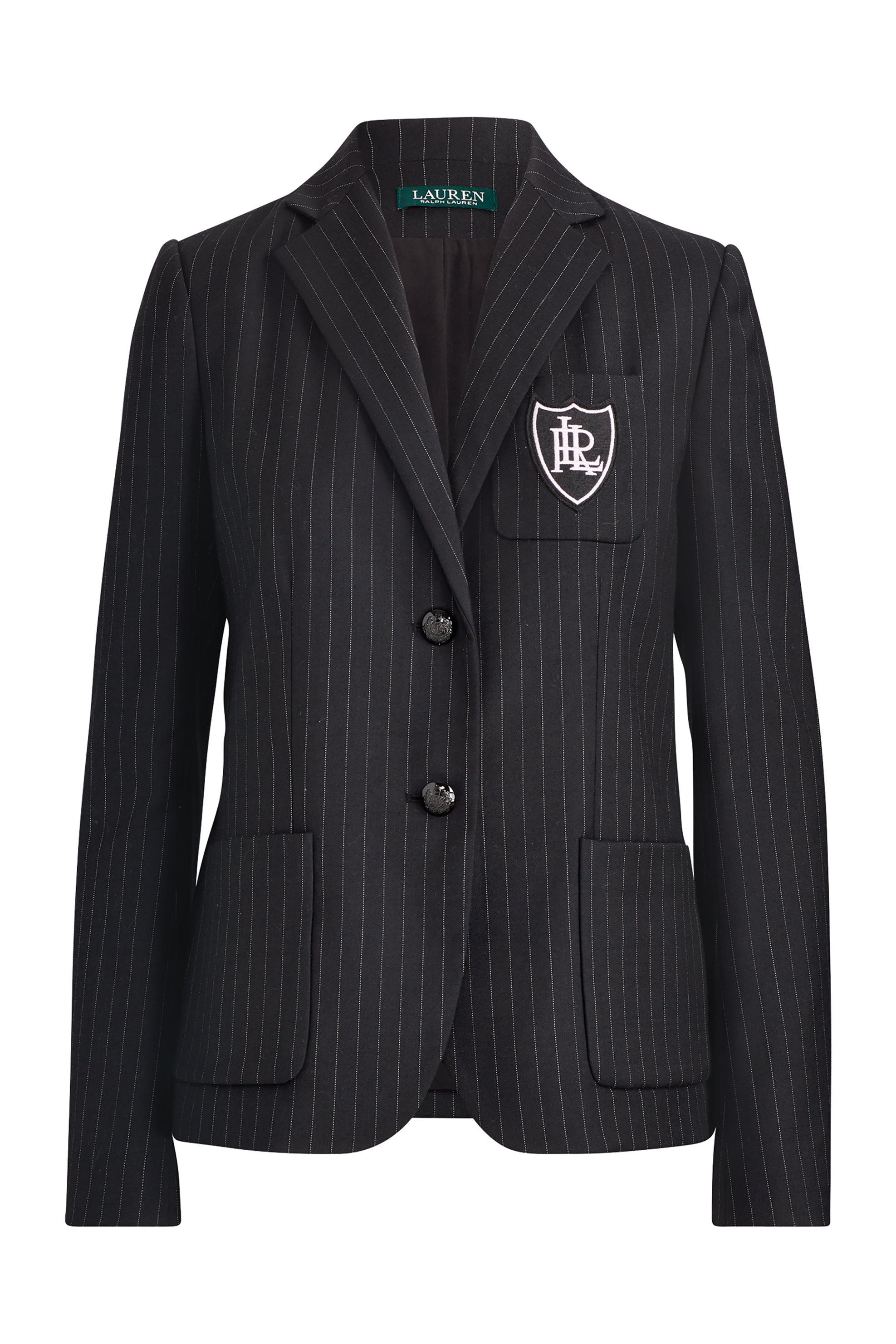 ae29c2984137 Lauren Ralph Lauren γυναικείο ριγέ σακάκι Pinstripe Wool-Blend -  200726126001 - Μαύρο