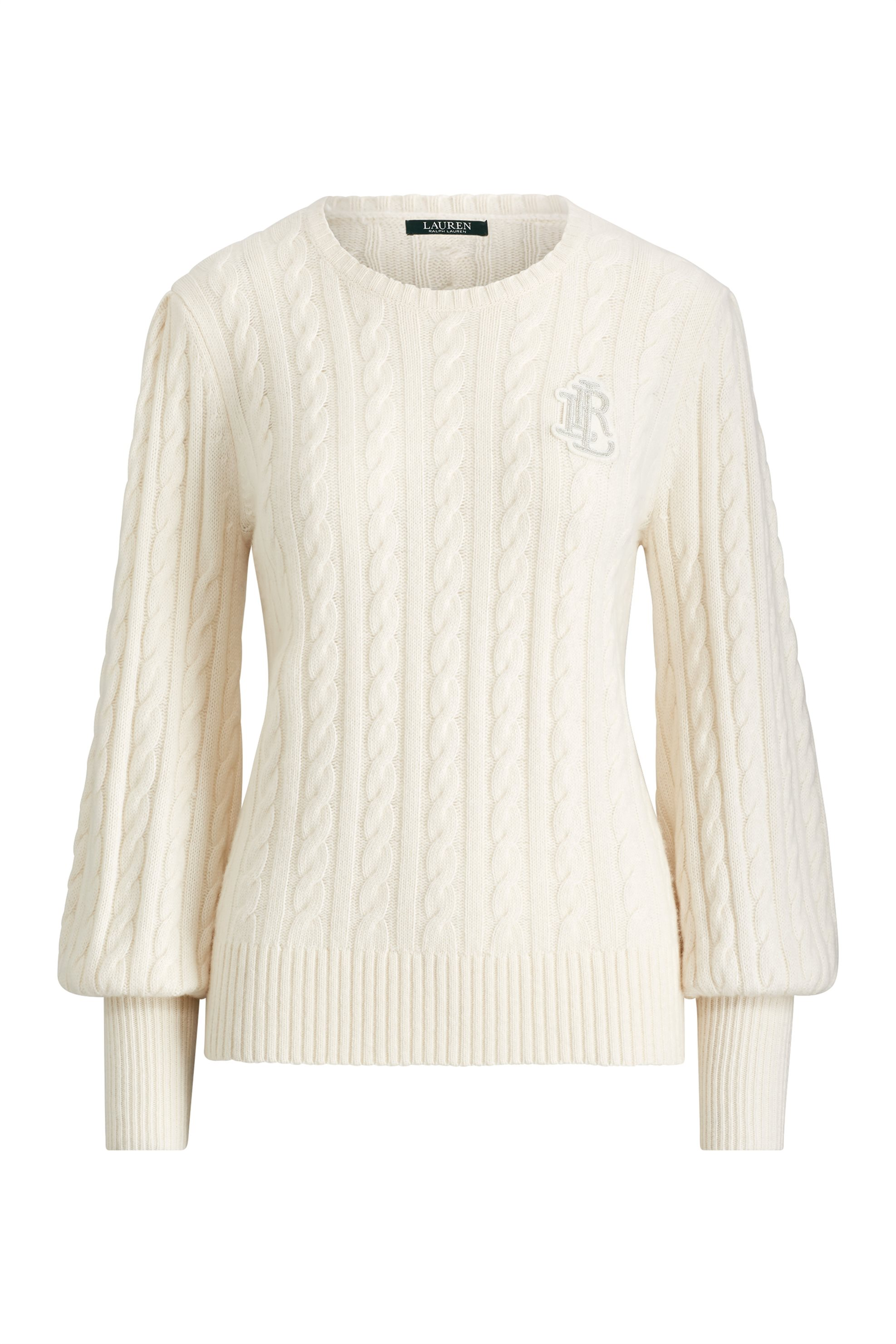 Lauren Ralph Lauren γυναικεία πλεκτή μπλούζα με πλεξούδα και φουσκωτά μανίκια -  γυναικα   ρουχα   πλεκτά   πουλόβερ