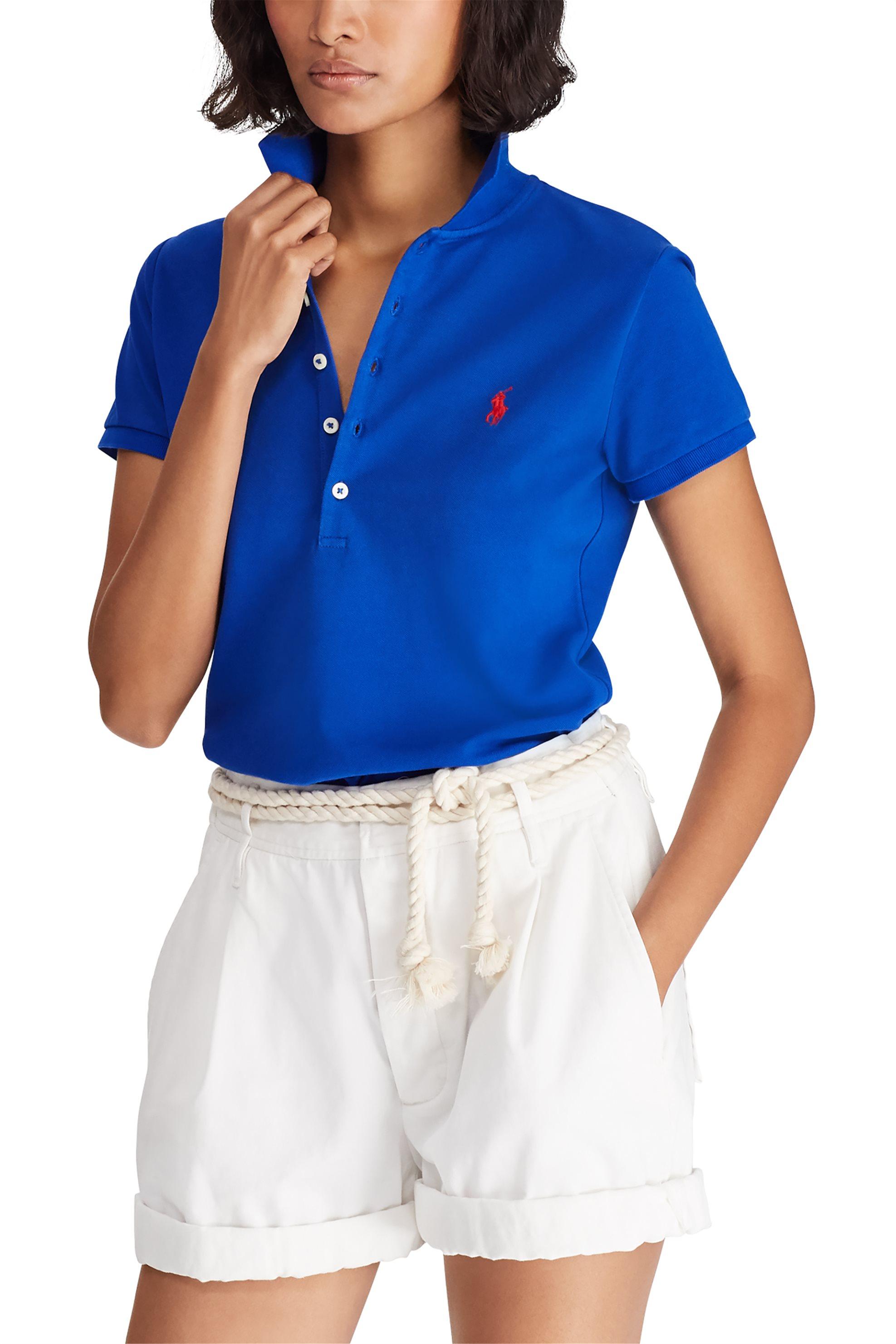 Polo Ralph Lauren γυναικεία μπλούζα Polo με χρωματιστό λογότυπο Slim Fit - 21150 γυναικα   ρουχα   tops   μπλούζες   πόλο