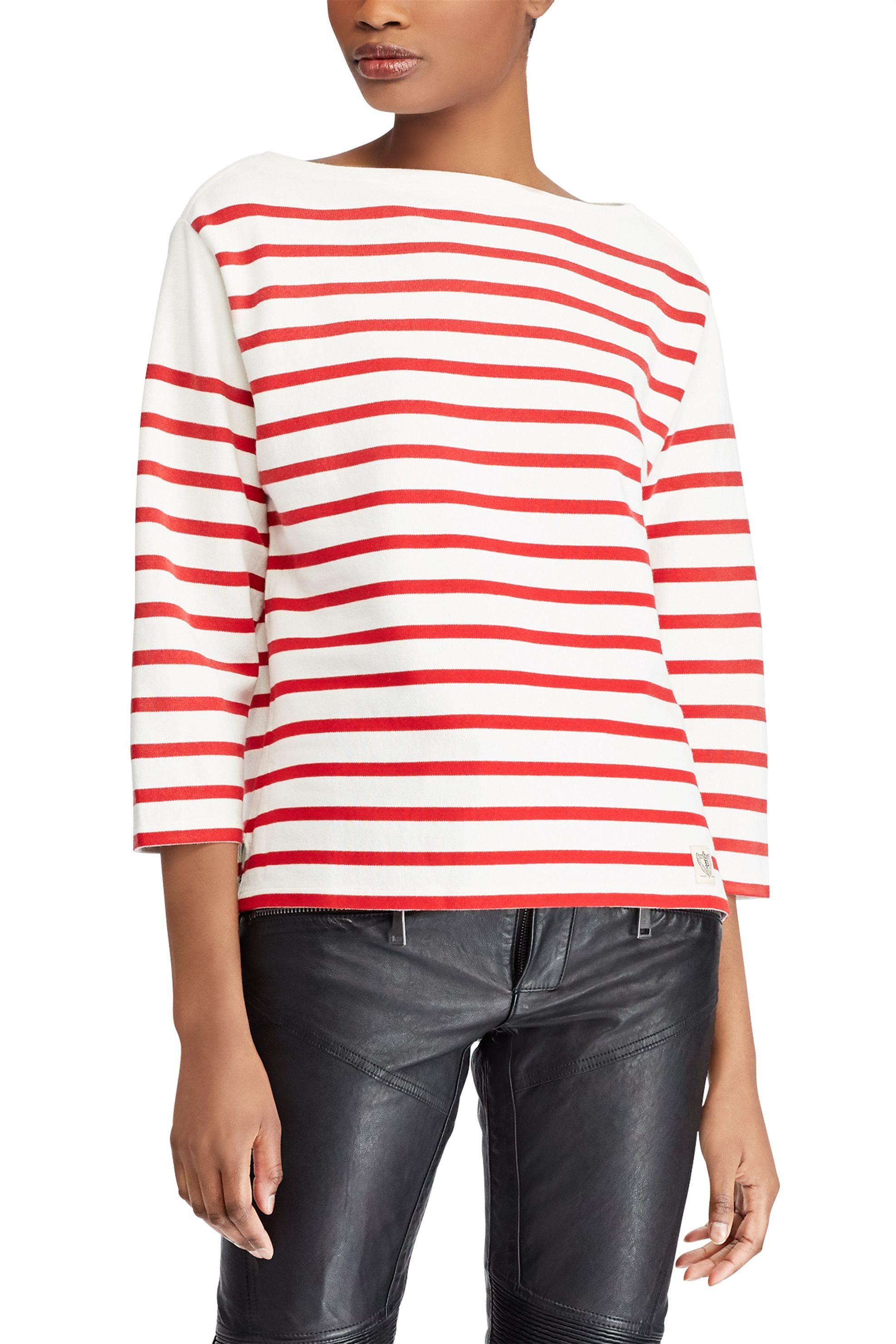 Polo Ralph Lauren γυναικεία μπλούζα ριγέ Concert Jersey Graphic T-Shirt red - 21 γυναικα   ρουχα   tops   μπλούζες   casual