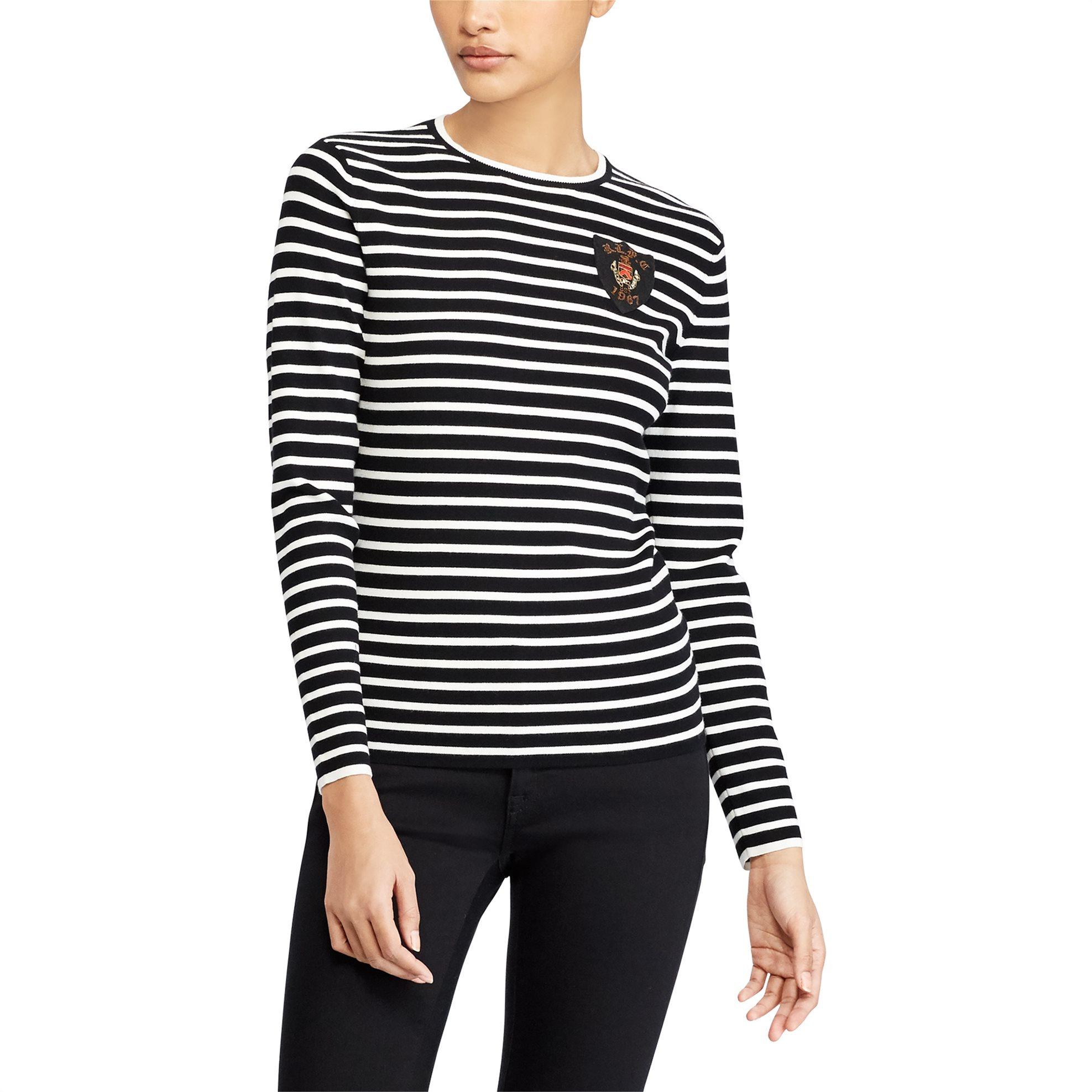 Polo Ralph Lauren γυναικεία ριγέ μπλούζα Bullion-Patch Striped Top - 21170625100 γυναικα   ρουχα   tops   μπλούζες   casual
