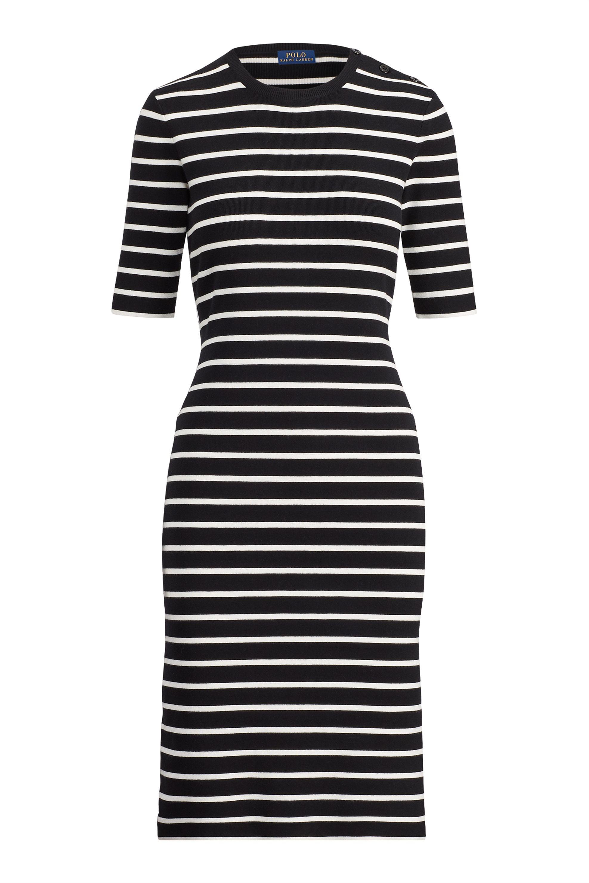 Polo Ralph Lauren γυναικείο φόρεμα ριγέ Button-Shoulder jumper Dress - 211710626 γυναικα   ρουχα   φορέματα   midi φορέματα