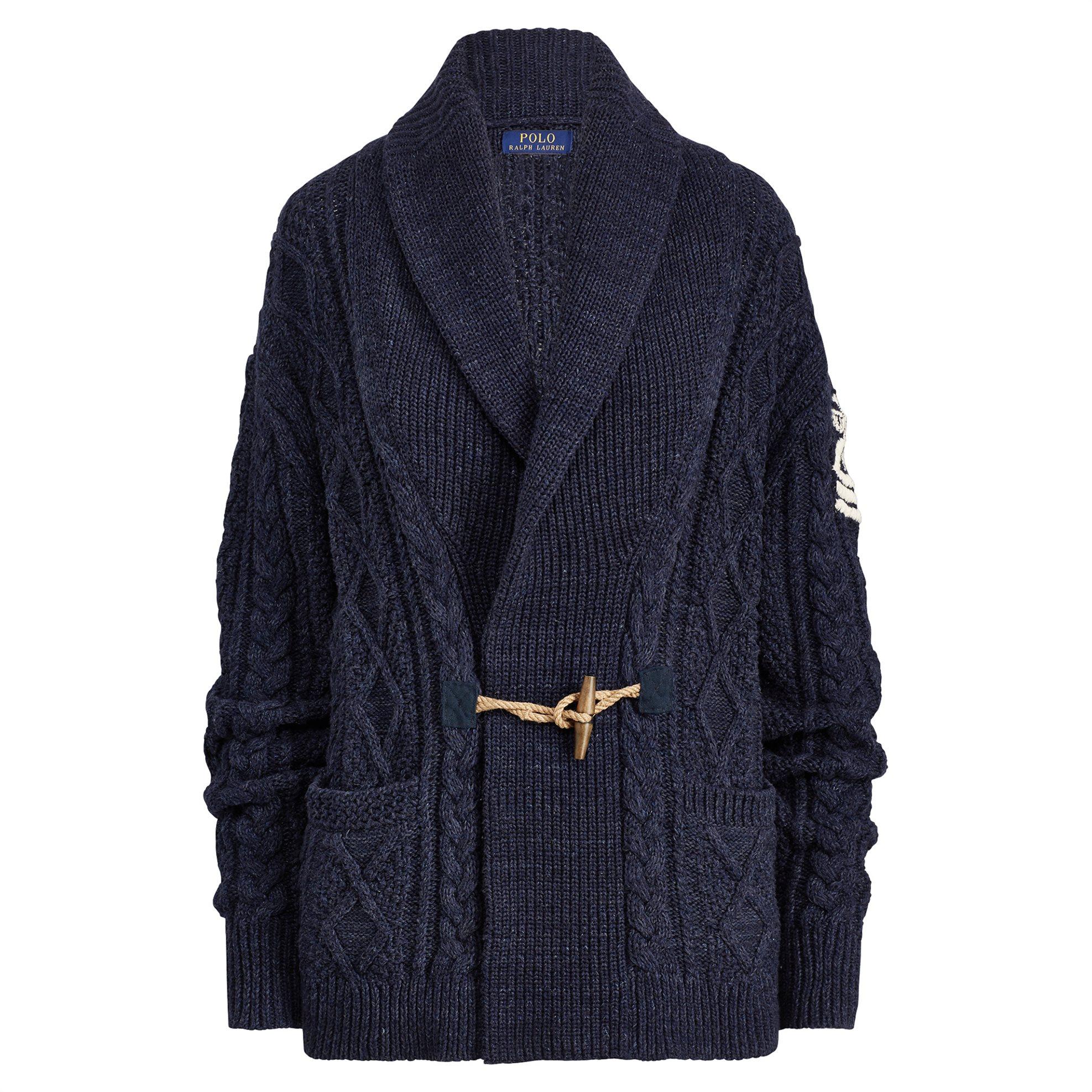 Polo Ralph Lauren γυναικεία ζακέτα πλεκτή Embroidered Shawl Cardigan Νavy - 2117 γυναικα   ρουχα   πλεκτά   ζακέτες