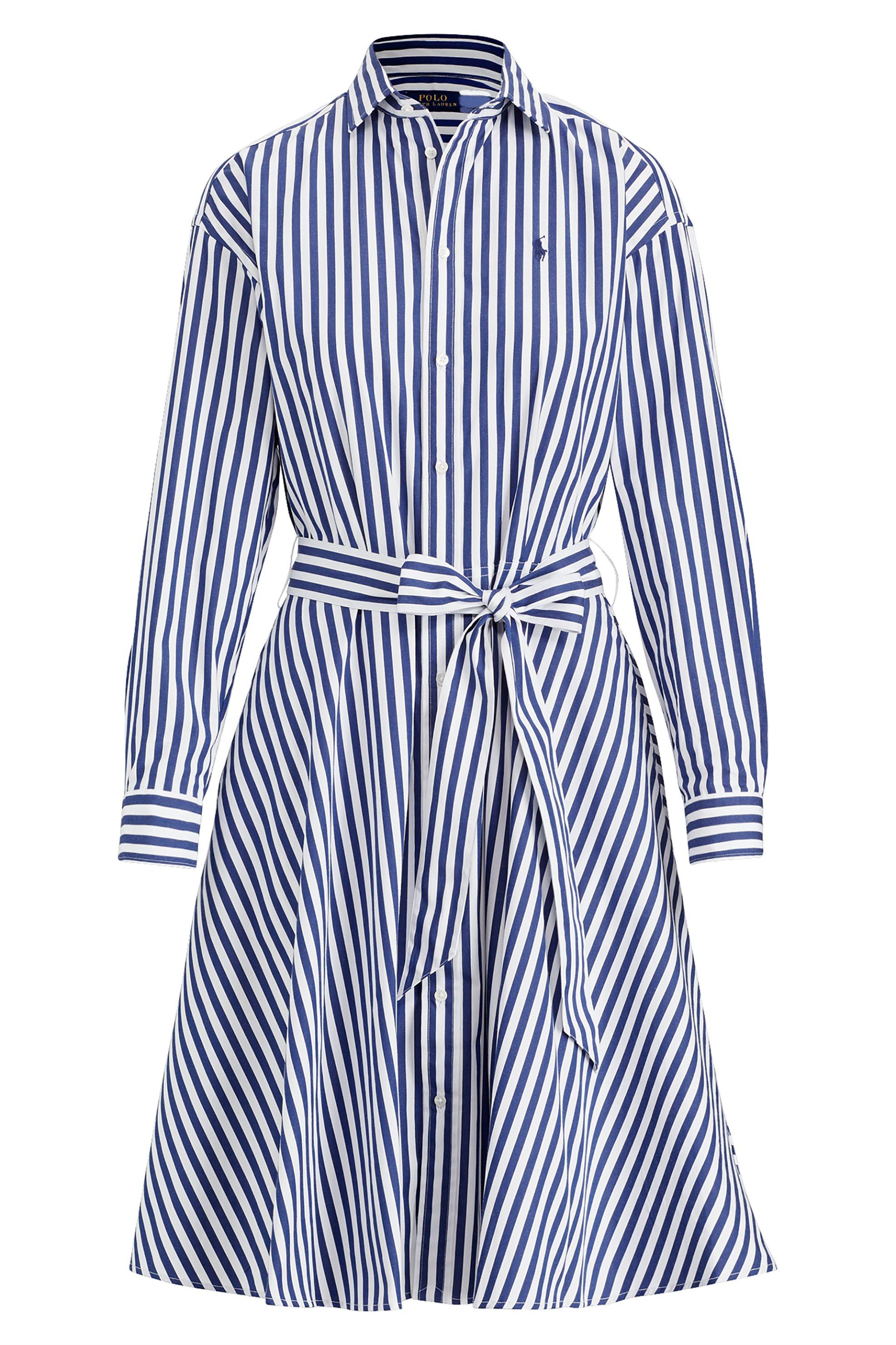Polo Ralph Lauren γυναικείο ριγέ φόρεμα Cotton Broadcloth - 211733672001 - Μπλε  γυναικα   ρουχα   φορέματα   midi φορέματα