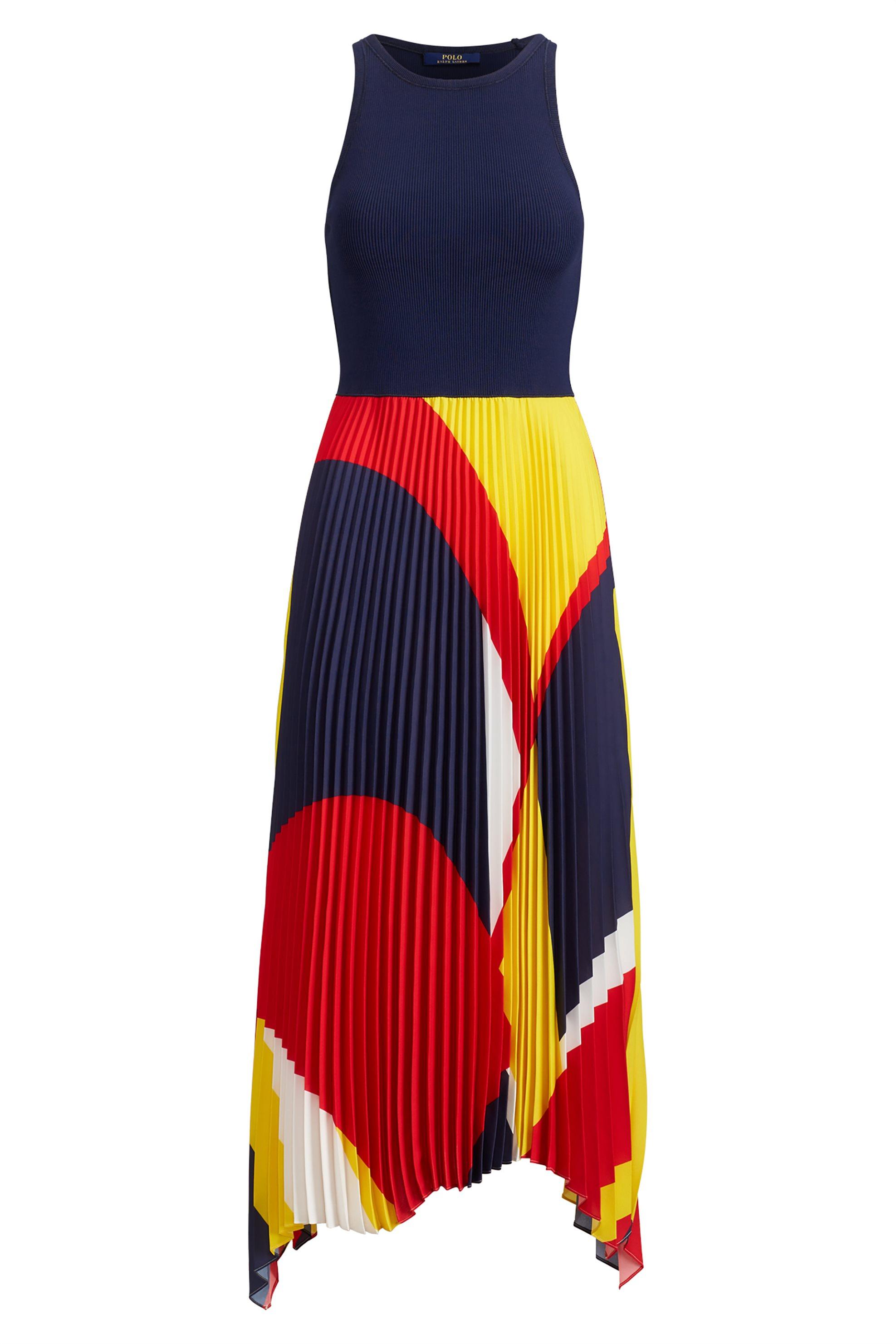 5b38275e5ddd Polo Ralph Lauren γυναικείο αμάνικο φόρεμα Pleated Georgette - 211733678001  - Μπλε Σκούρο