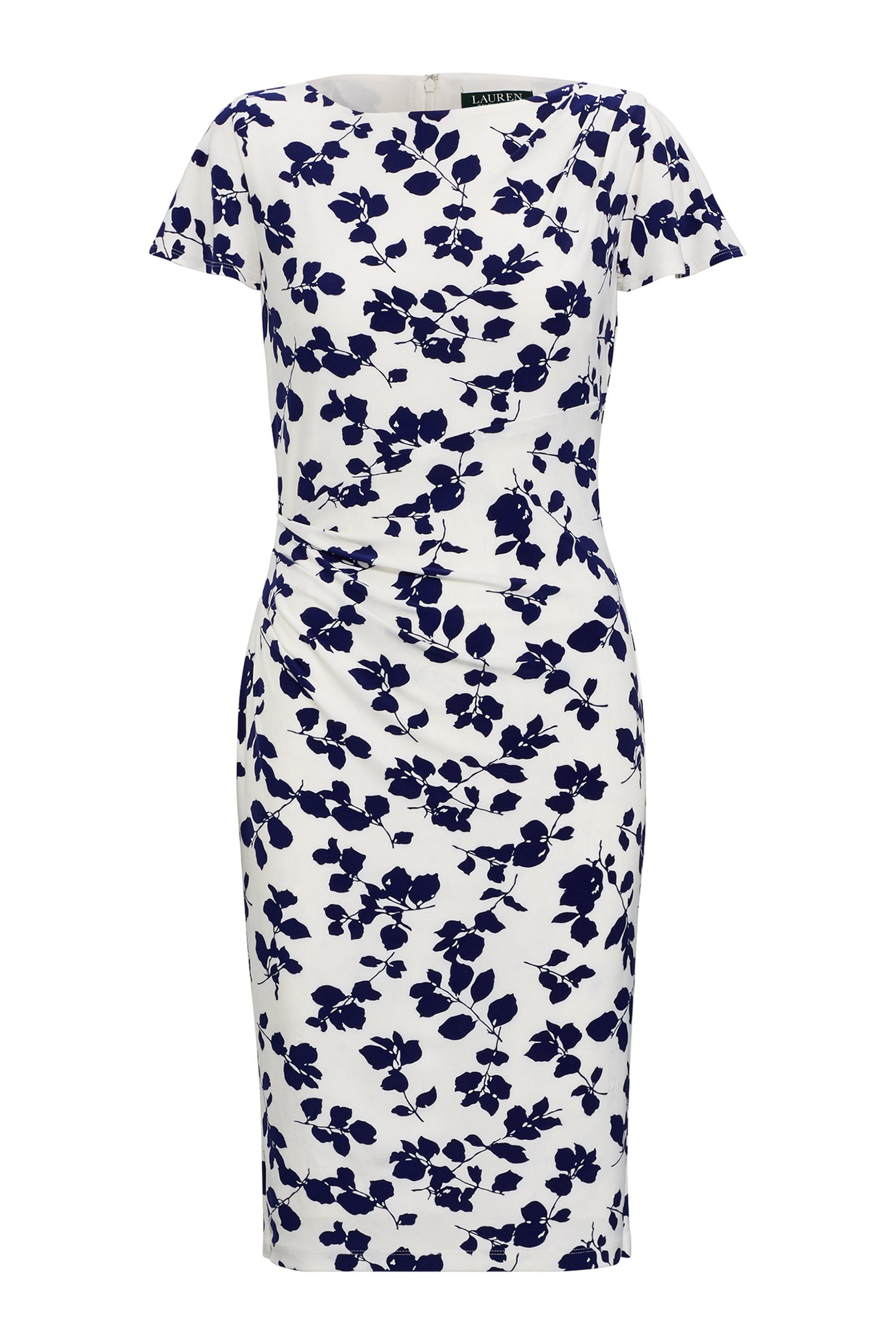 Lauren Ralph Lauren γυναικείo floral φόρεμα με σούρες - 250731371001 - Λευκό γυναικα   ρουχα   φορέματα   midi φορέματα