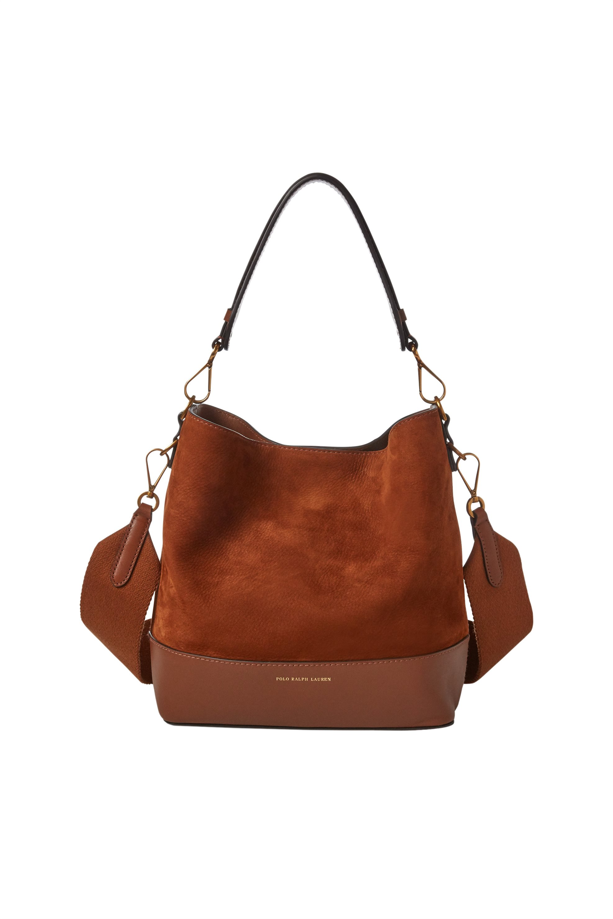 Polo Ralph Lauren γυναικεία τσάντα καφέ Small Suede Leather Hobo Bag - 428714748 γυναικα   τσαντεσ   ώμου   shopper bags