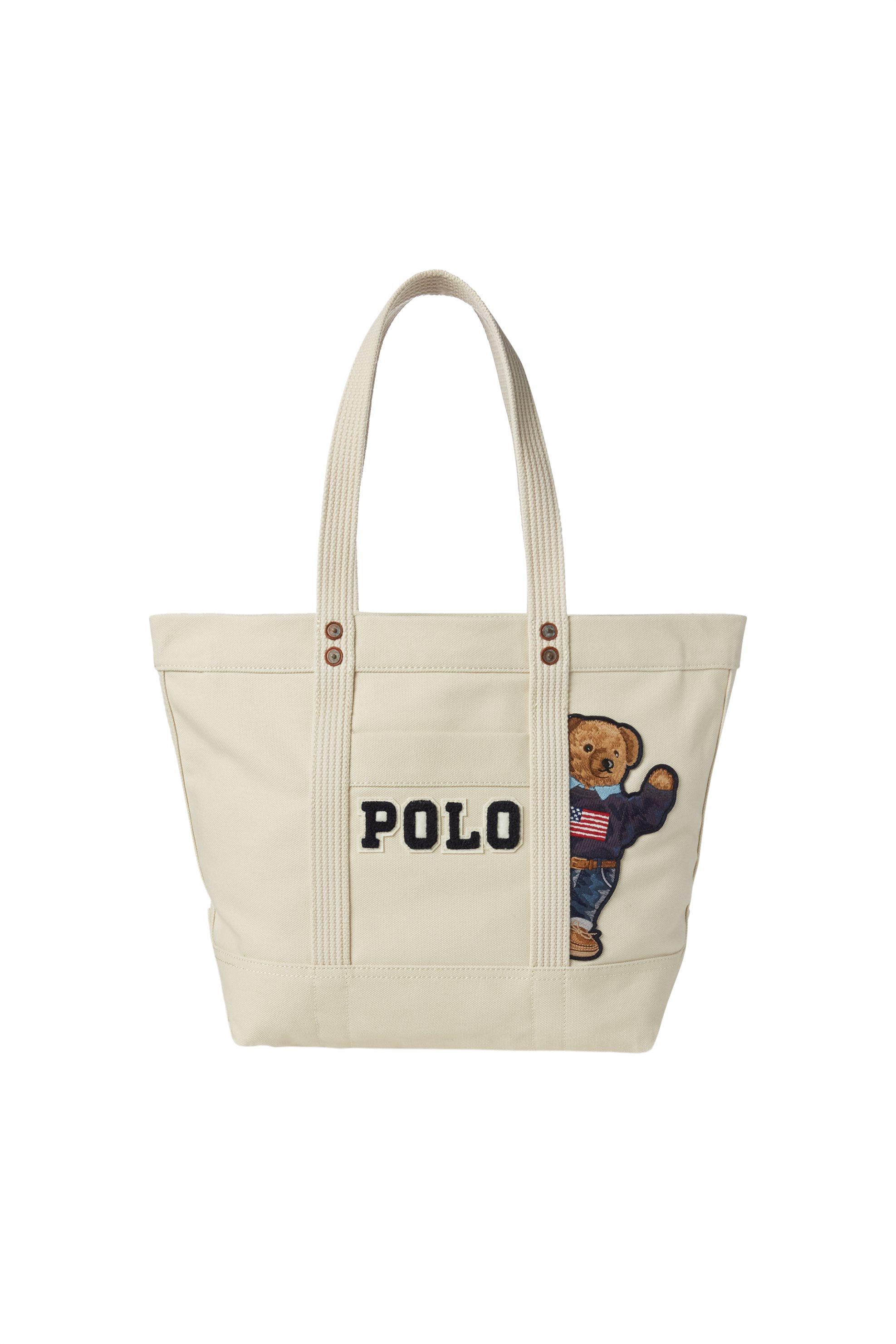 Polo Ralph Lauren γυναικεία τσάντα ώμου Canvas Polo Bear - 428746448001 - Εκρού γυναικα   τσαντεσ   ώμου   shopper bags