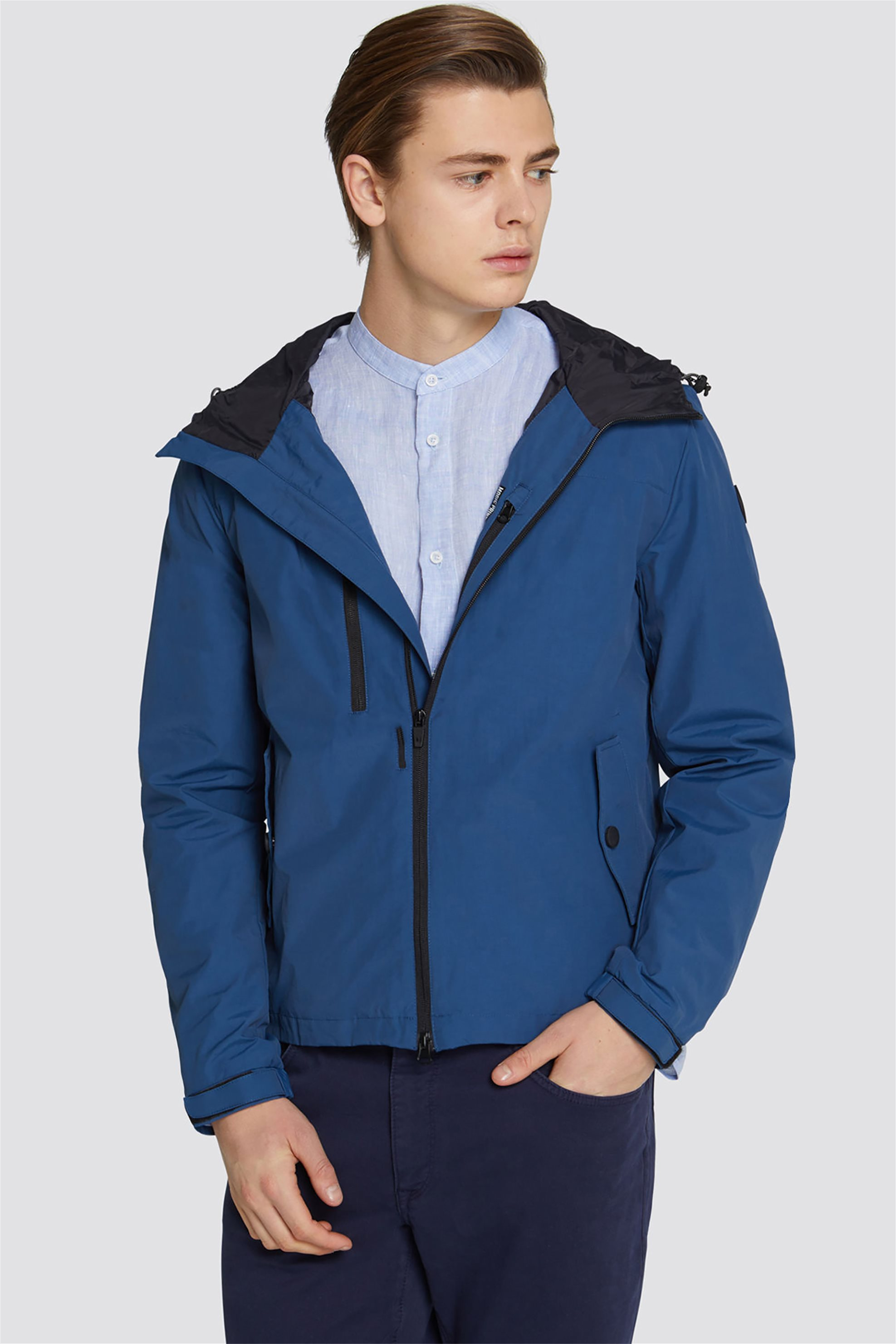 a21a39a4d7 Trussardi Jeans ανδρικό αδιάβροχο μπουφάν με κουκούλα - 52S00277-1T002158 -  Μπλε Σκούρο