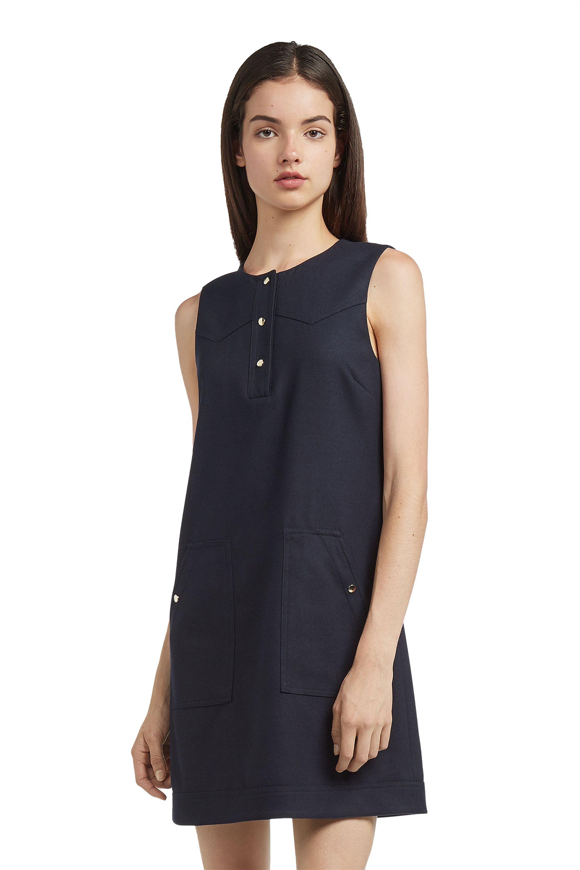 Trussardi Jeans γυναικείο φόρεμα αμάνικο με κουμπάκια - 56D00156-1T001548 - Μπλε γυναικα   ρουχα   φορέματα   mini φορέματα