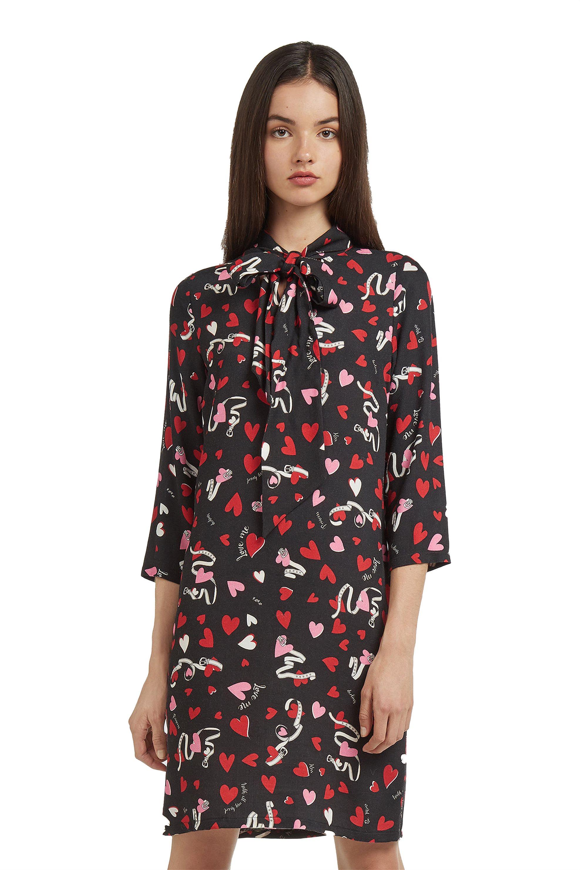 Trussardi Jeans γυναικείο φόρεμα heart print - 56D00159-1T001506 - Μαύρο γυναικα   ρουχα   φορέματα   mini φορέματα