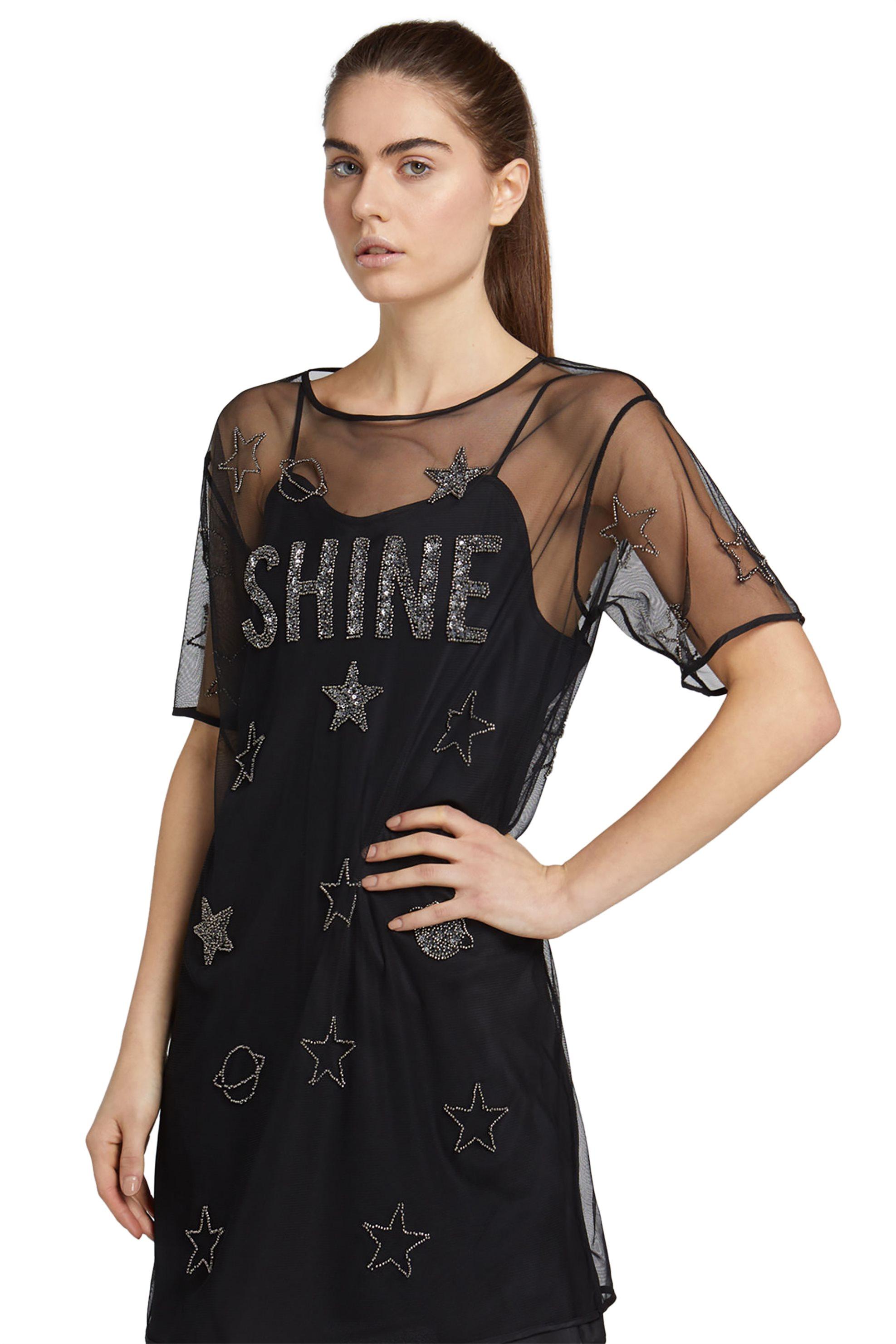 Trussardi Jeans γυναικείο μίνι φόρεμα με διαφάνεια και κέντημα - 56D00209-1T0015 γυναικα   ρουχα   φορέματα   mini φορέματα
