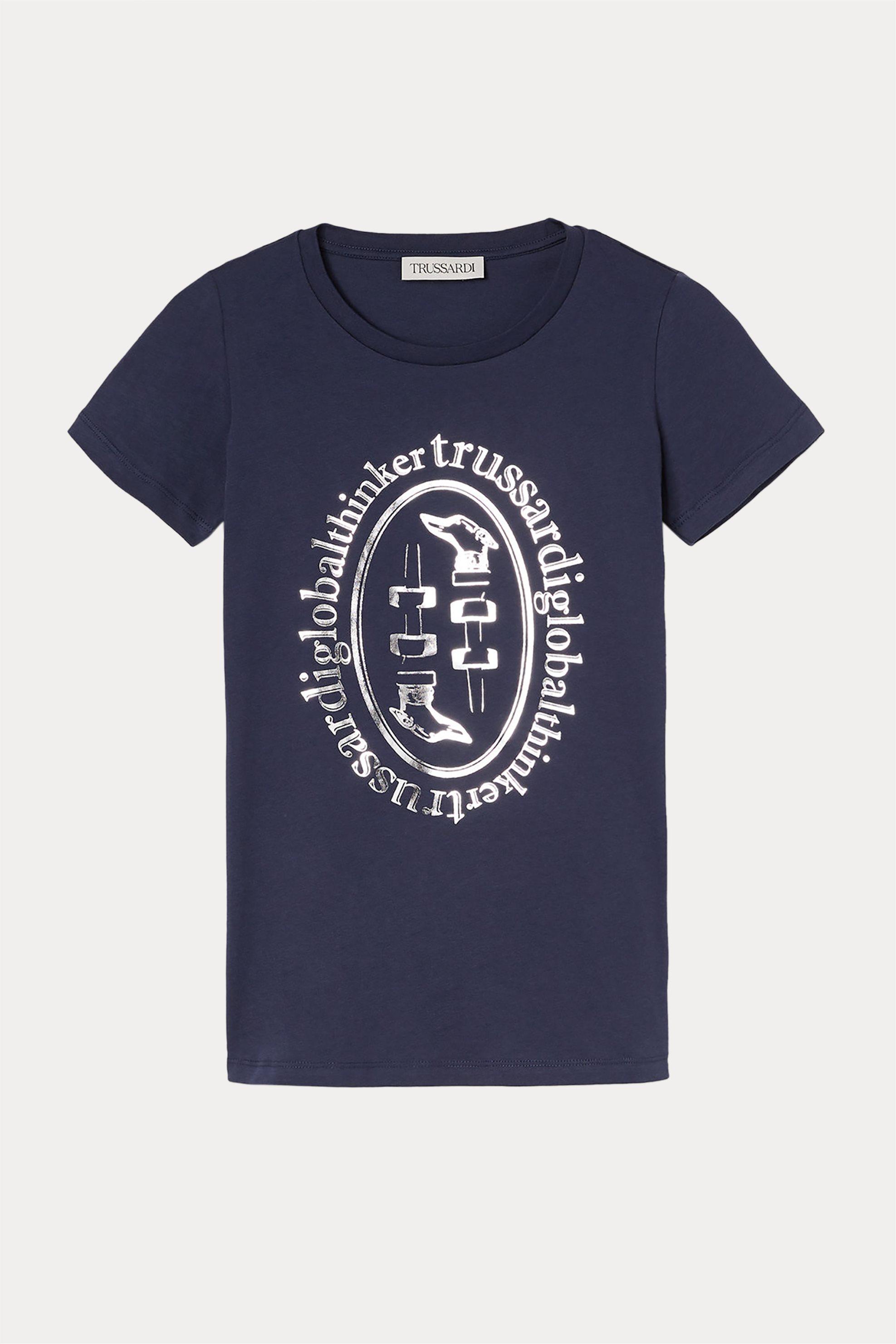 Trussardi Jeans γυναικείο T-shirt με μεταλλιζέ logo print - 56T00397-1T005341 - Μπλε Σκούρο