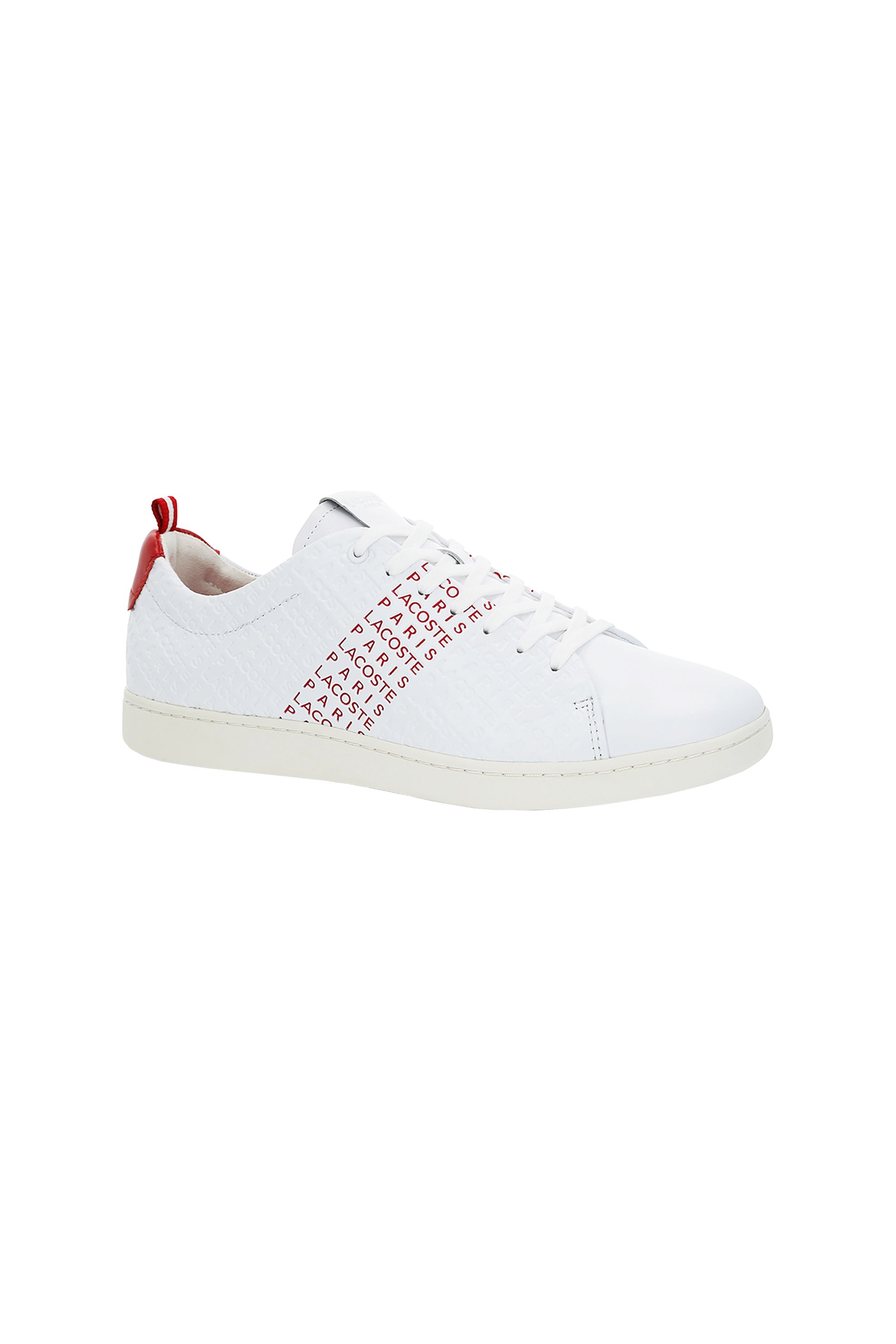 16eafa248128 Notos Lacoste ανδρικά sneakers με λεπτομέρειες σε κόκκινο χρώμα Carnaby Evo  – 37SMA0014286 – Λευκό