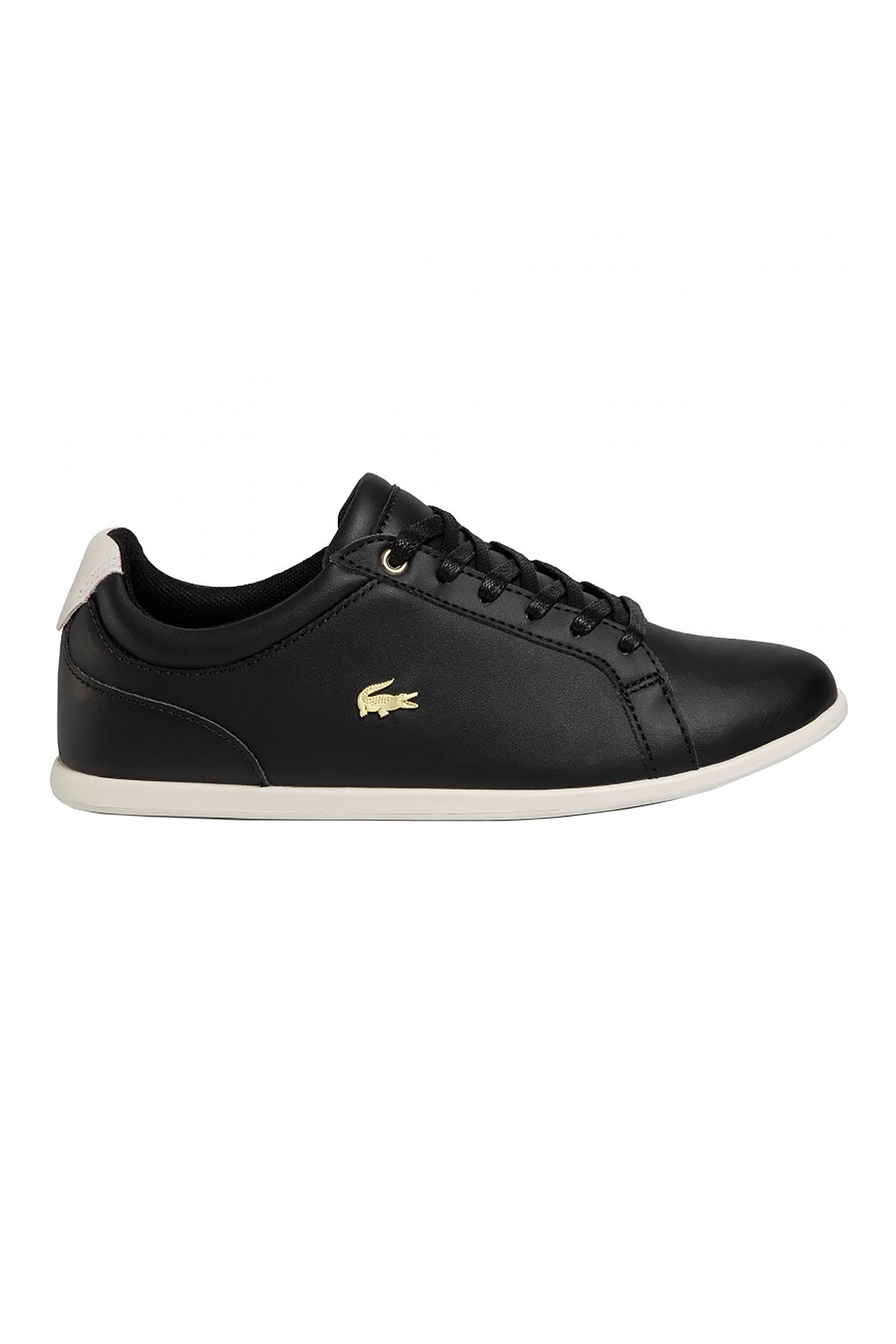 "Lacoste γυναικεία sneakers με μεταλλικό λογότυπο και λευκή σόλα ""Rey Lace 120"" – 39CFA0012454 – Μαύρο"