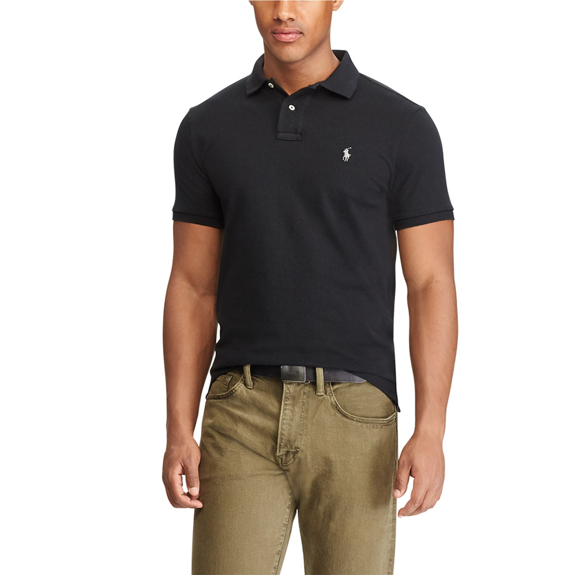 f237aaea9ea6 Notos Polo Ralph Lauren ανδρική μπλούζα πόλο μαύρη Custom Slim Fit Mesh  Polo - 710666998004 - Μαύρο