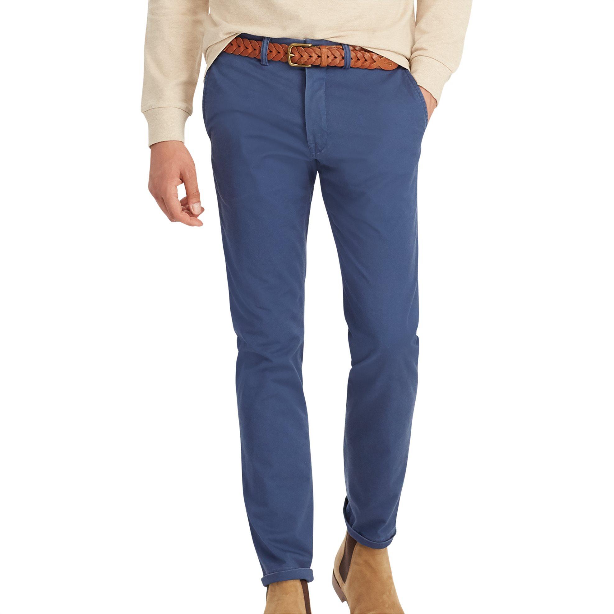 Polo Ralph Lauren ανδρικό παντελόνι μπλε Stretch Slim Fit Cotton Chino - 7107041 ανδρασ   ρουχα   παντελόνια   chinos
