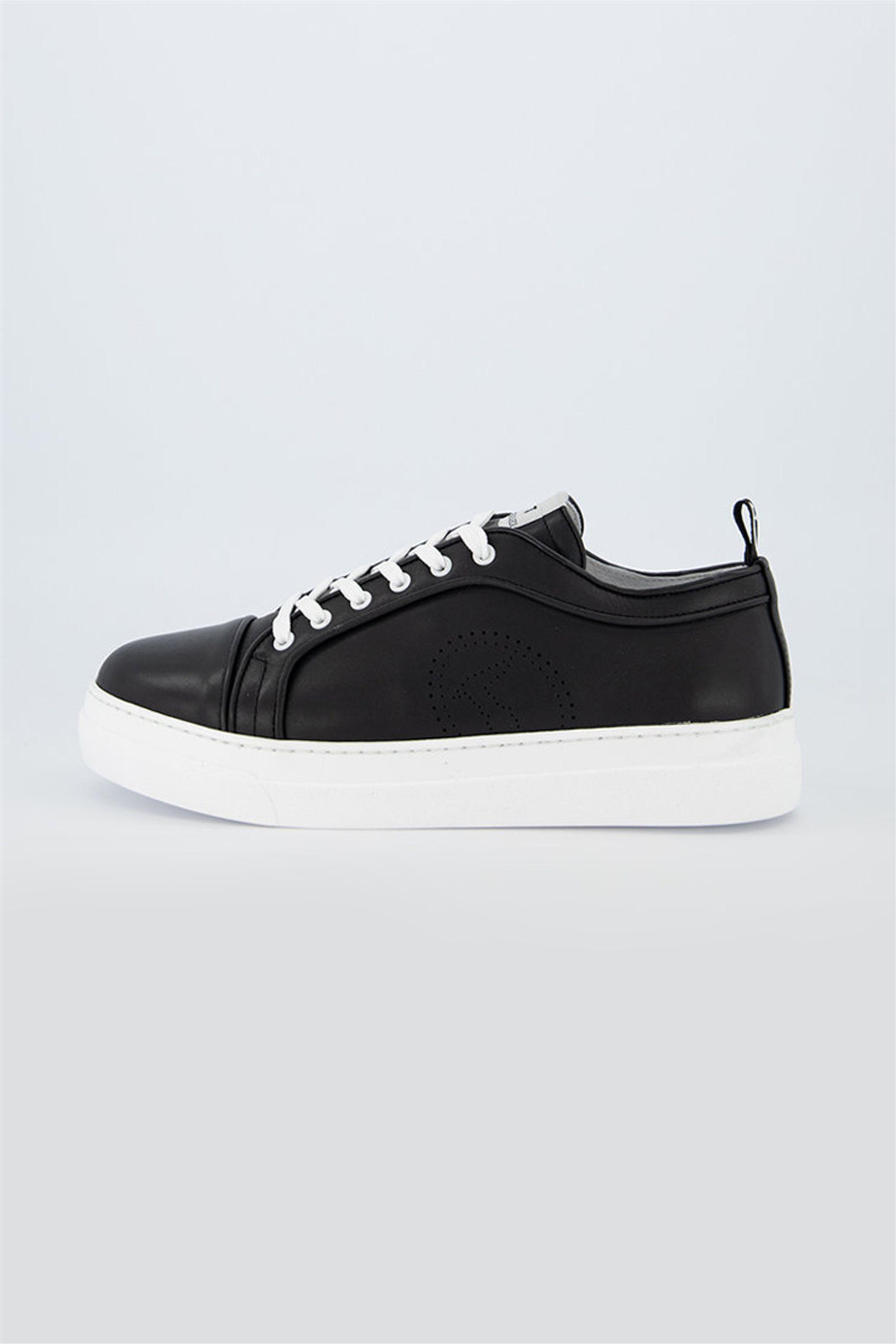 Trussardi ανδρικά sneakers με διάτρητο λογότυπο – 77A00296-9Y099999 – Μαύρο