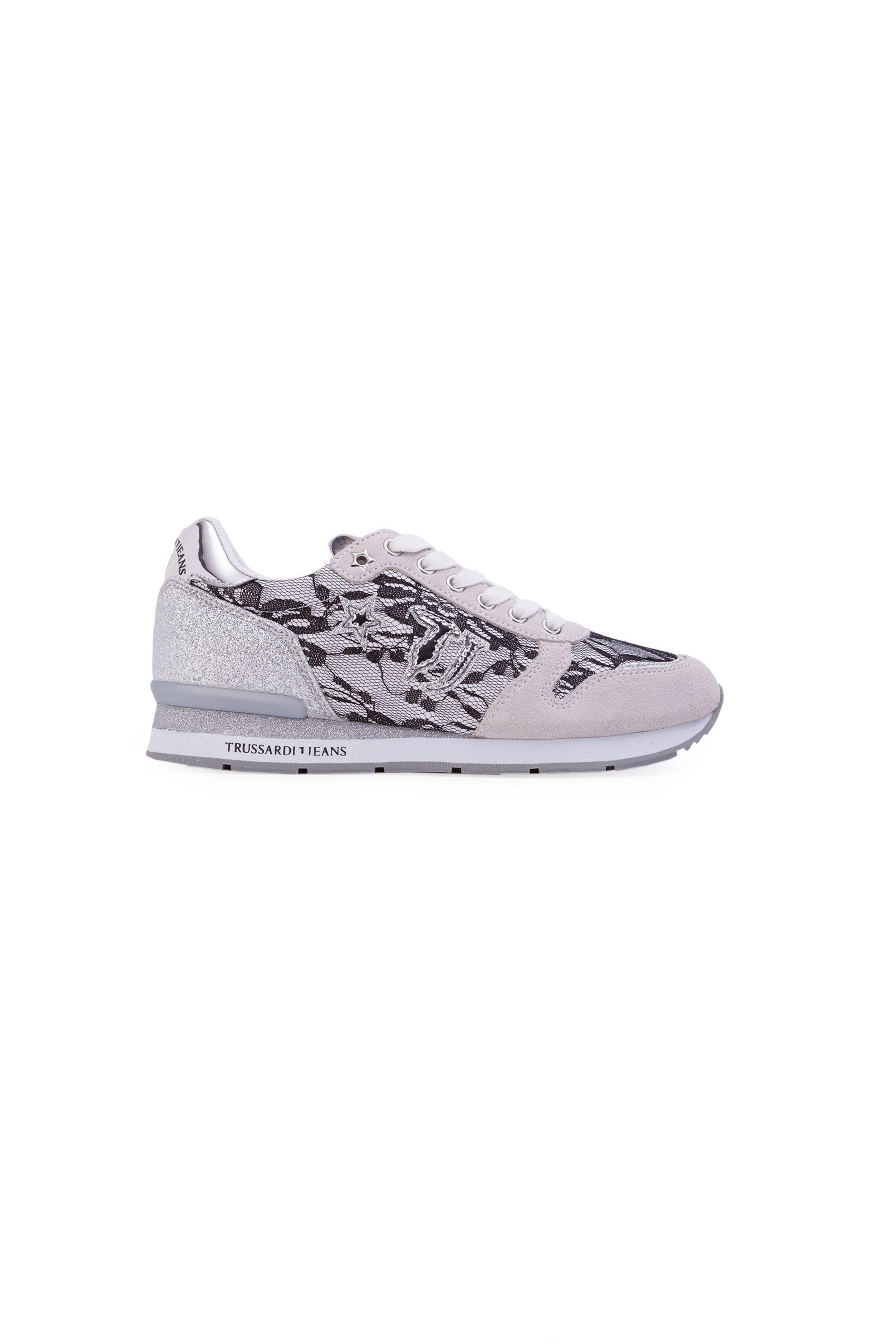 Notos Γυναικεία παπούτσια με δαντέλα Τrussardi – 79A00145-9Y099999 – Γκρι a8908a123b9
