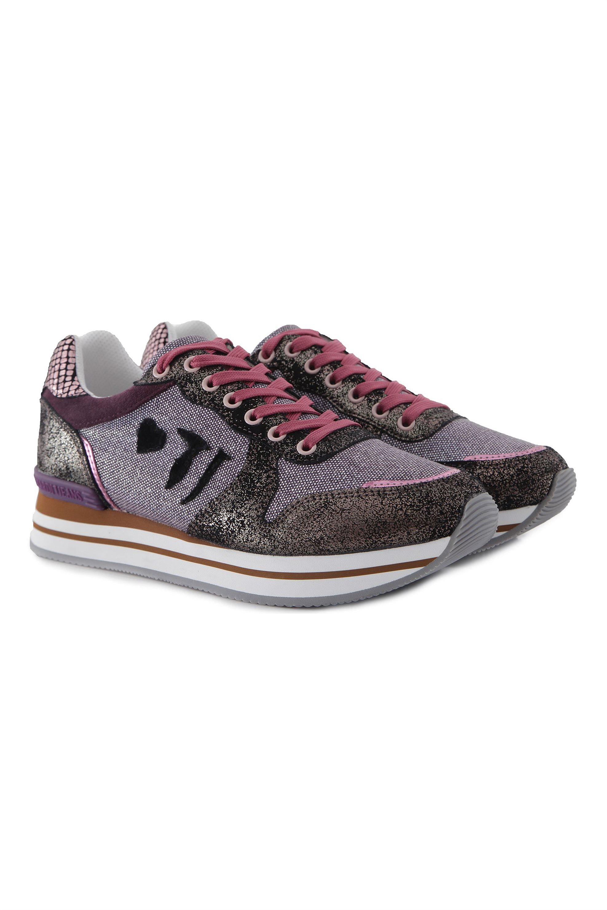 Trussardi γυναικεία sneakers με μεταλλικές λεπτομέρειες – 79A00245-9Y099999 – Μπορντό