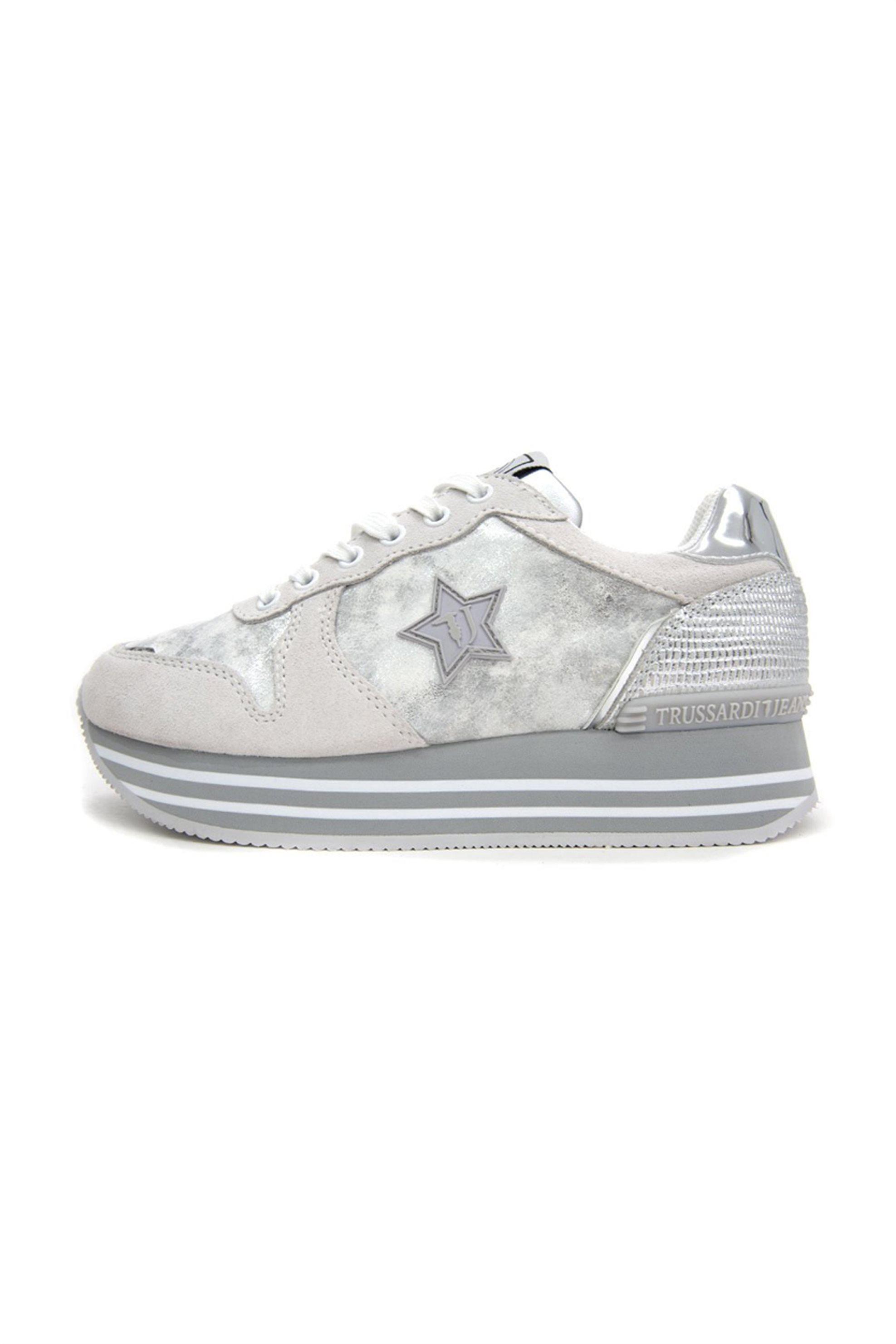 Trussardi γυναικεία sneakers με πλατφόρμα με μεταλλιζέ λεπτομέρειες – 79A00439-9Y099999 – Ασημί