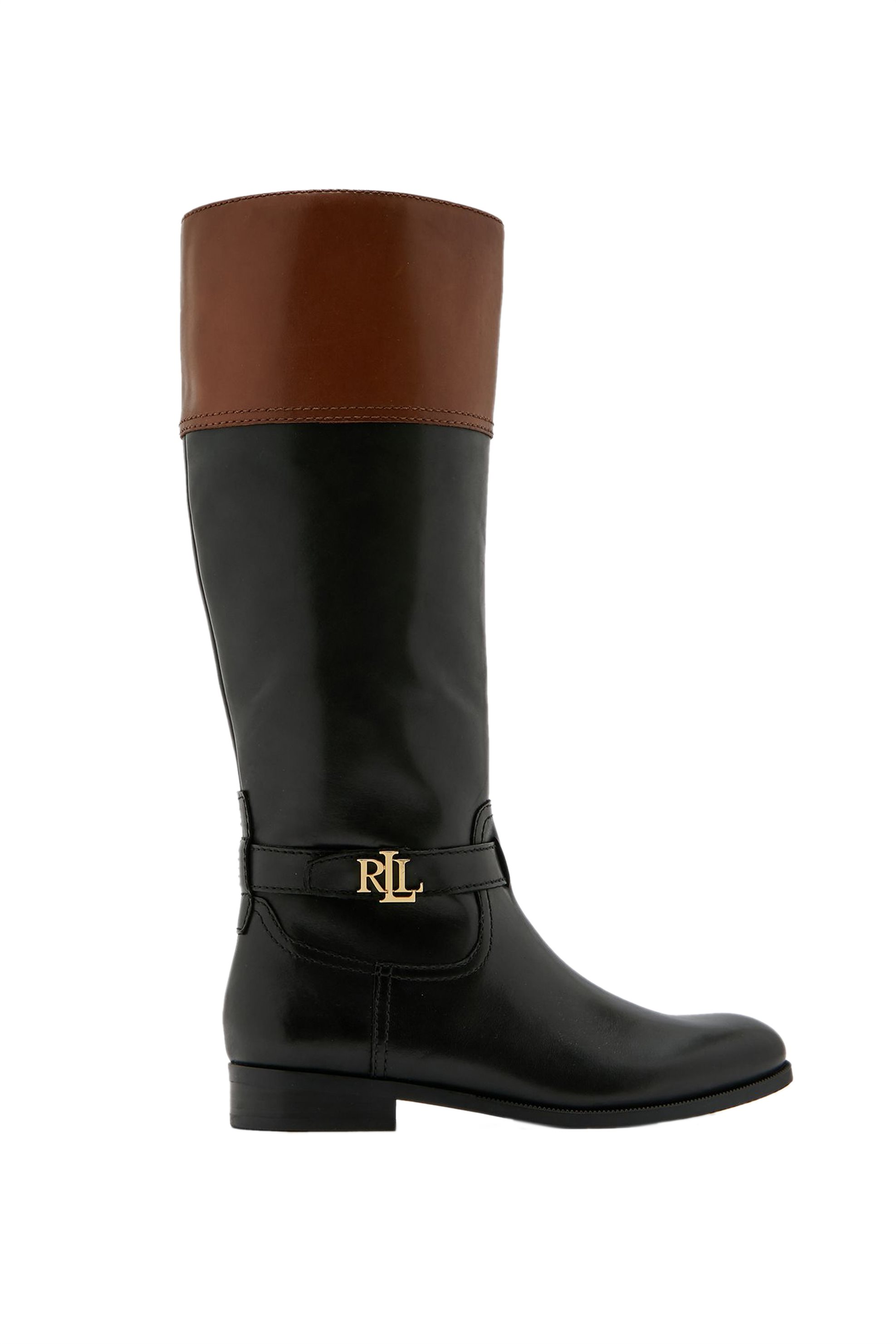 "Lauren Ralph Lauren γυναικείες δερμάτινες μπότες με μεταλλικό λογότυπο ""Baylee"" – 802797082003 – Μαύρο"