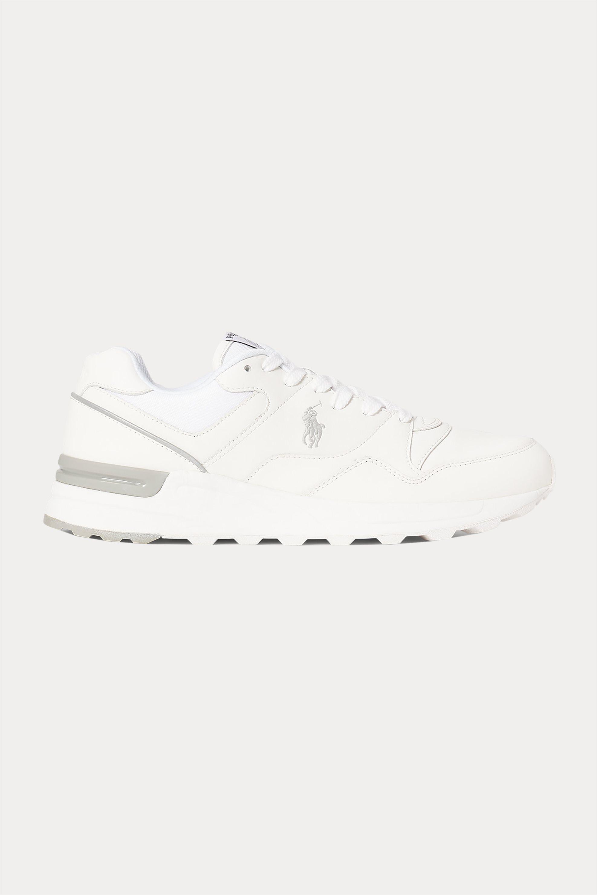 "Polo Ralph Lauren ανδρικά δερμάτινα trainers με κορδόνια ""Trackster 100"" – 809806303002 – Λευκό"