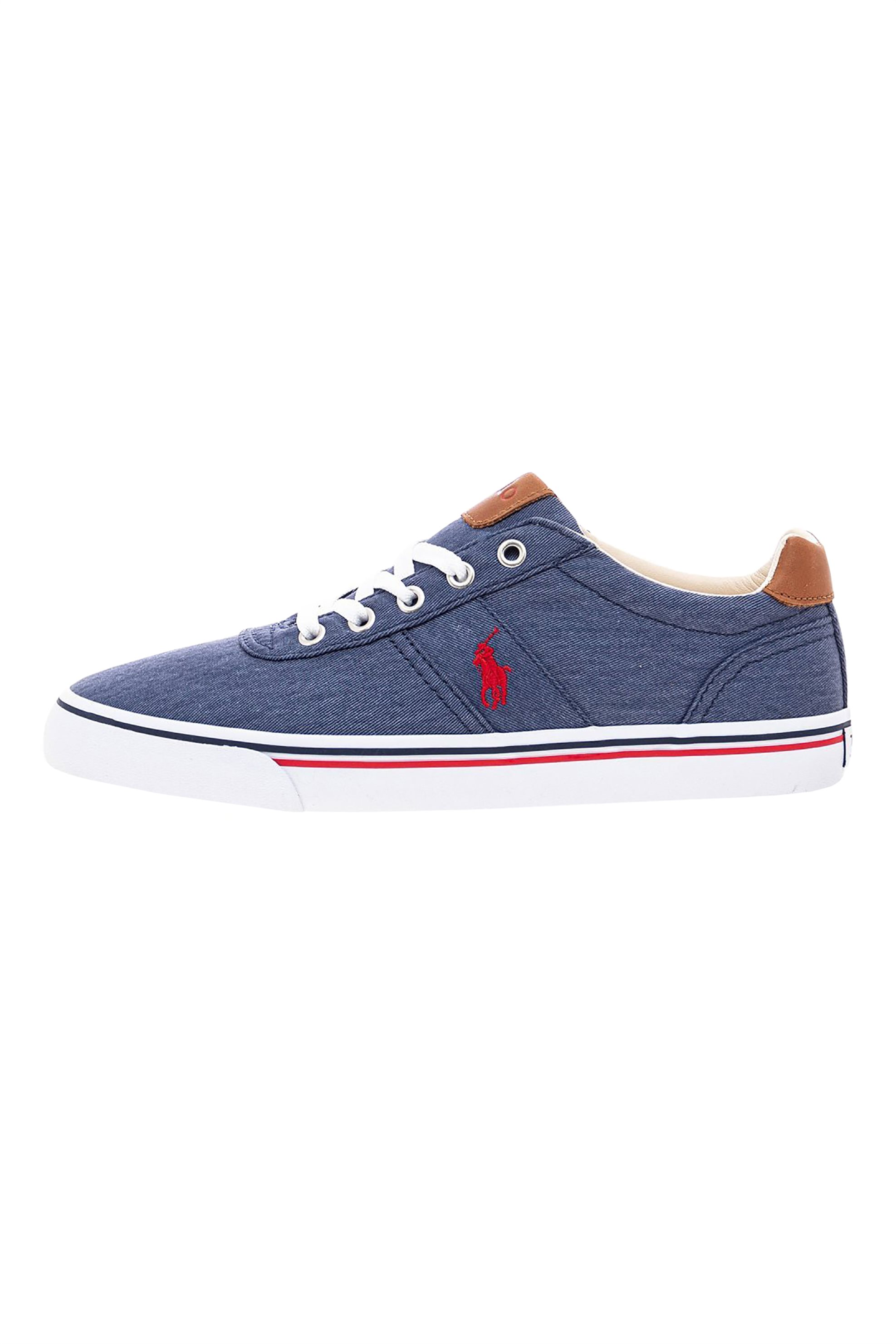 "Polo Ralph Lauren ανδρικά denim sneakers με κεντημένο logo ""Hanford"" – 816786047001 – Μπλε Σκούρο"