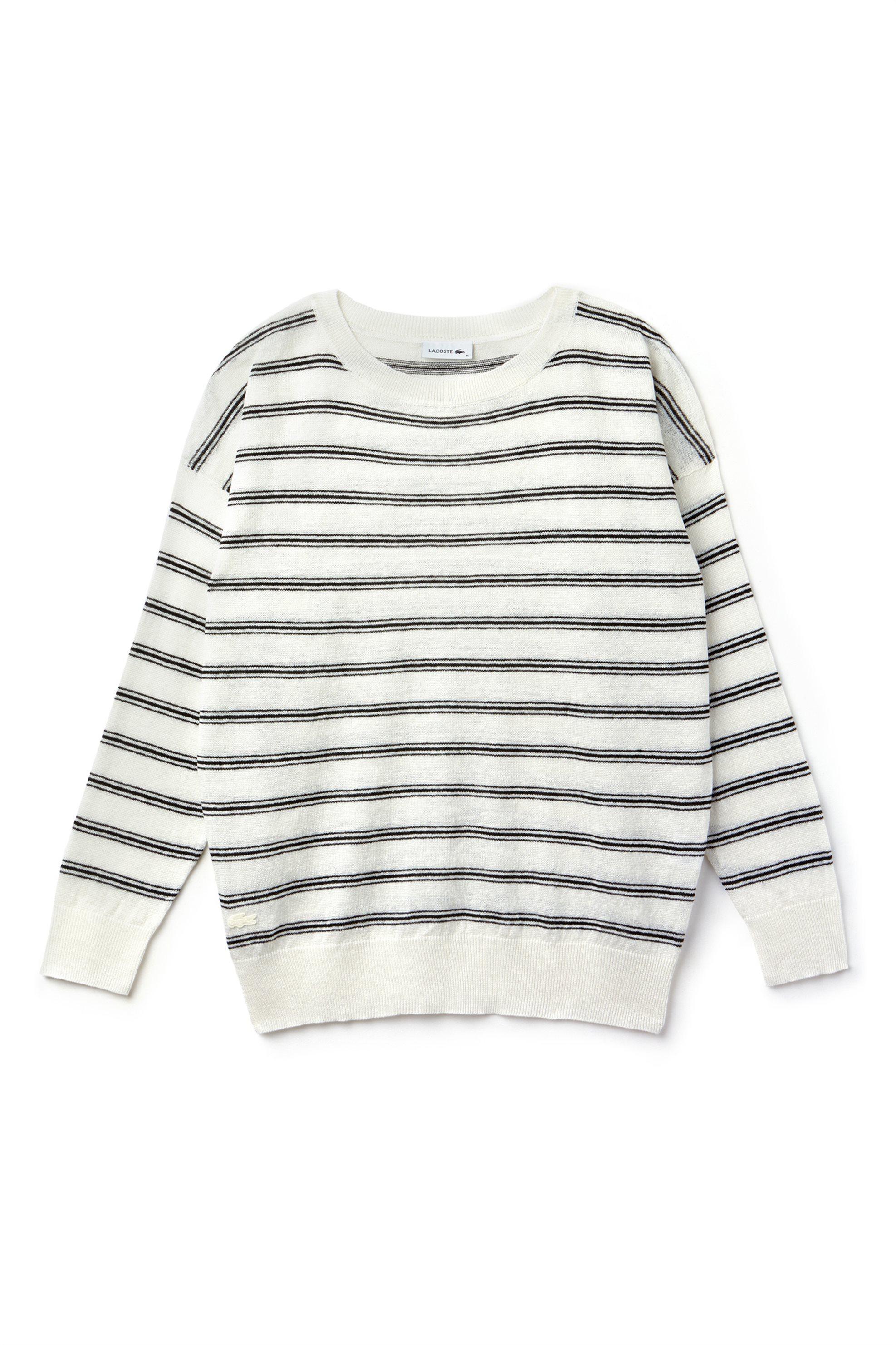 Γυναικείο πουλόβερ ριγέ Spring Bloom S/S 2018 Collection Lacoste - AF6421 - Μπεζ γυναικα   ρουχα   πλεκτά   πουλόβερ