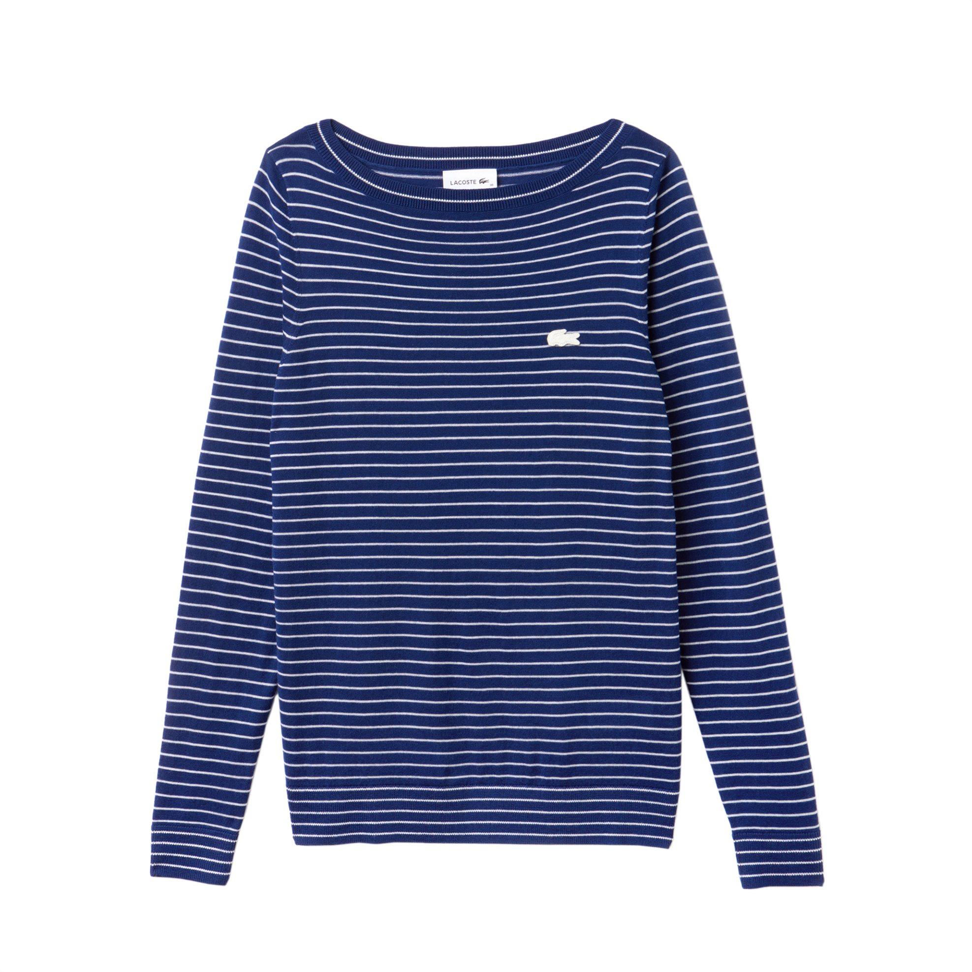 c8f5bc92101a Lacoste ριγέ γυναικεία πλεκτή μπλούζα με λαιμόκοψη χαμόγελο - AF8827 - Μπλε