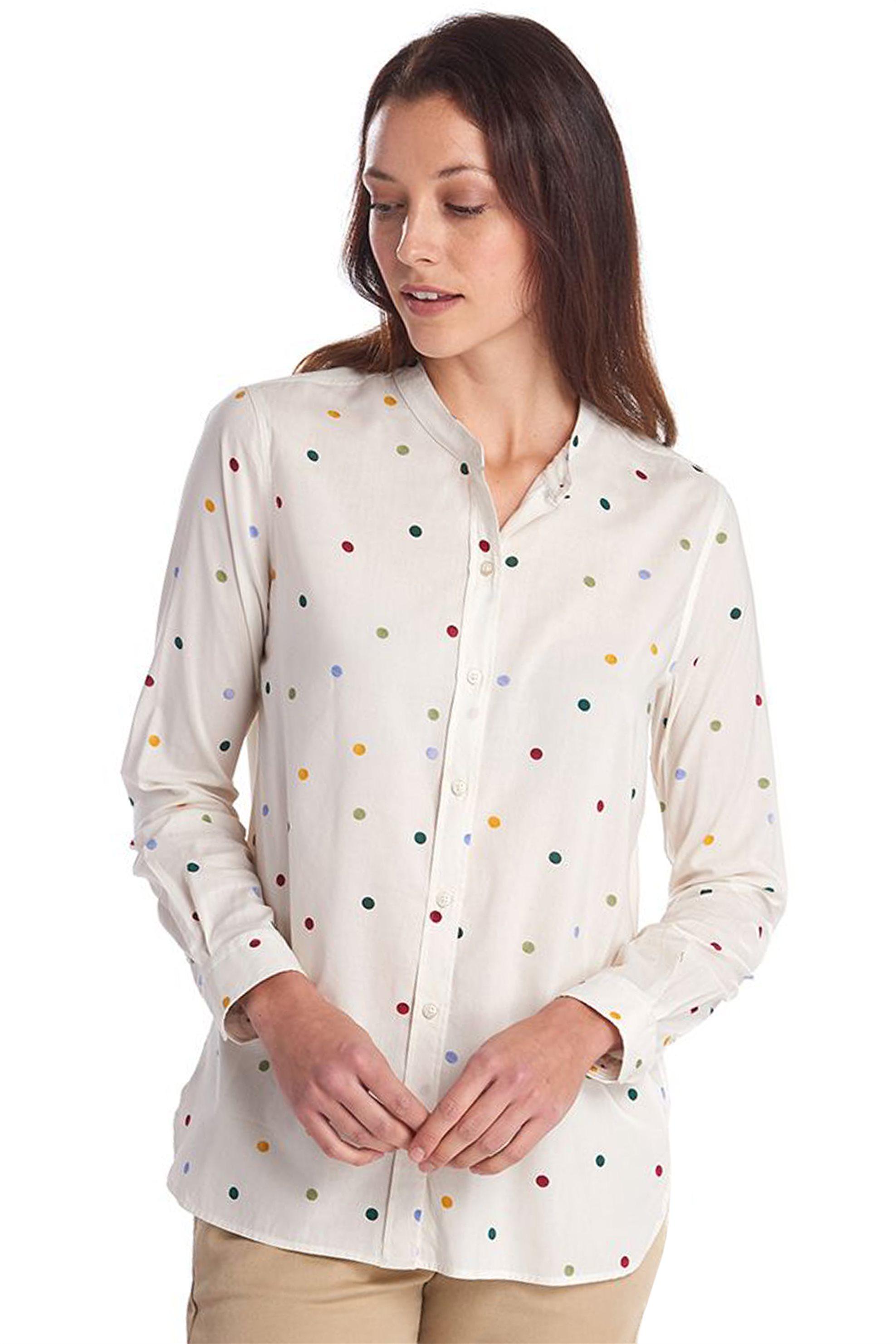 "Barbour γυναικείο πουά πουκάμισο με μάο γιακά ""x Emma Bridge..."